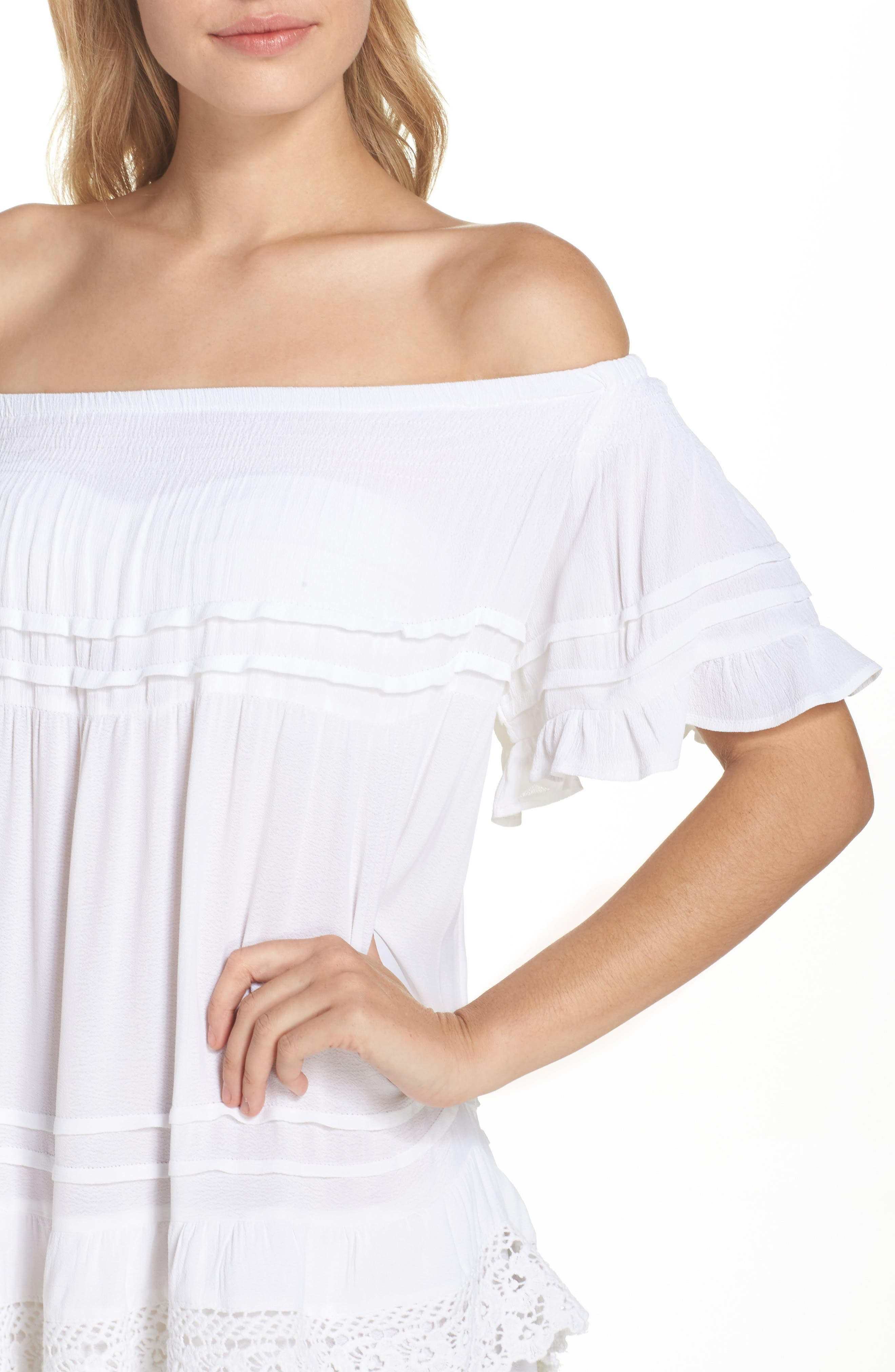 Esmerelda Off the Shoulder Cover-Up Maxi Dress,                             Alternate thumbnail 8, color,