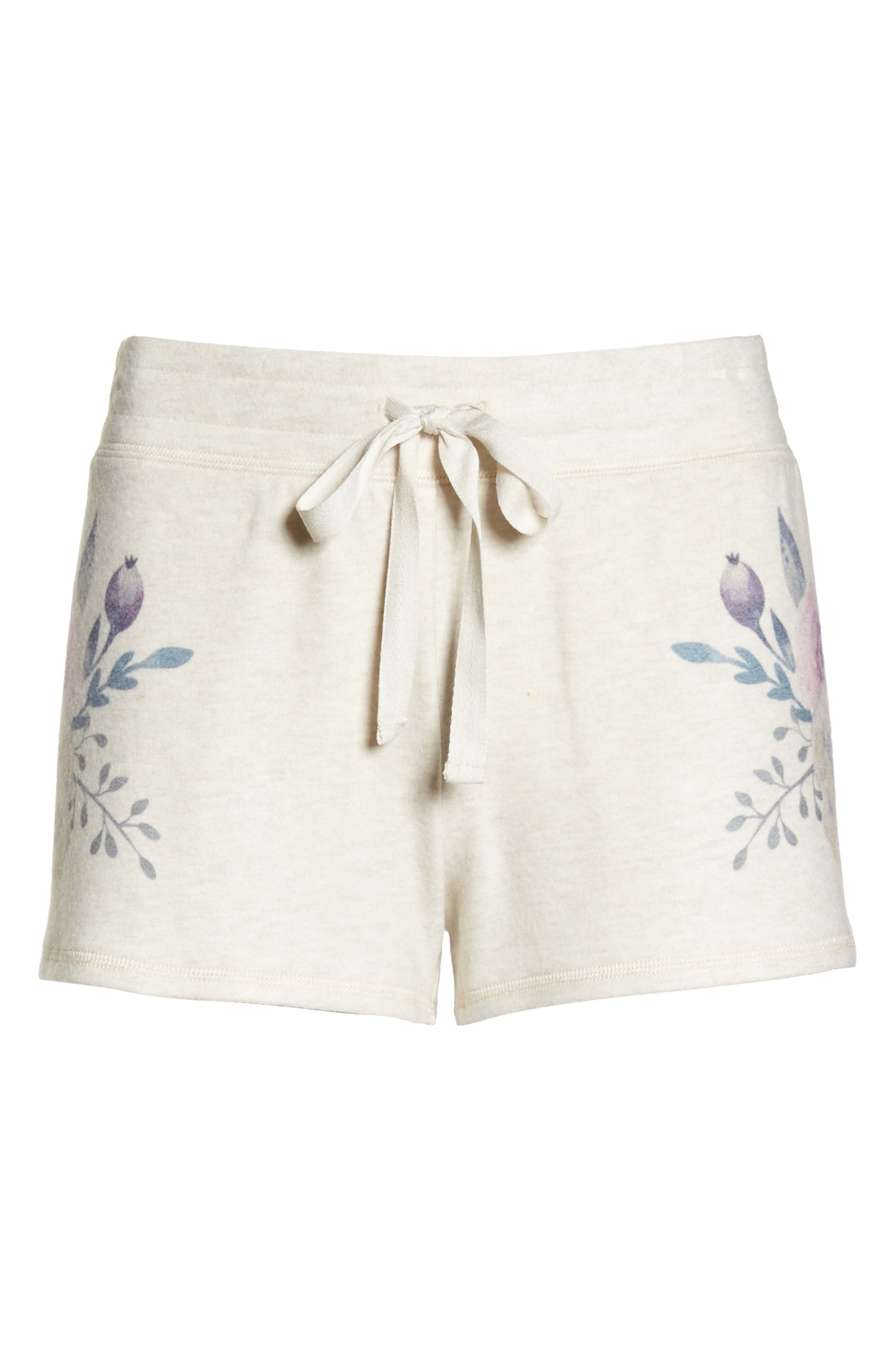 Peachy Floral Pajama Shorts,                             Alternate thumbnail 6, color,                             900