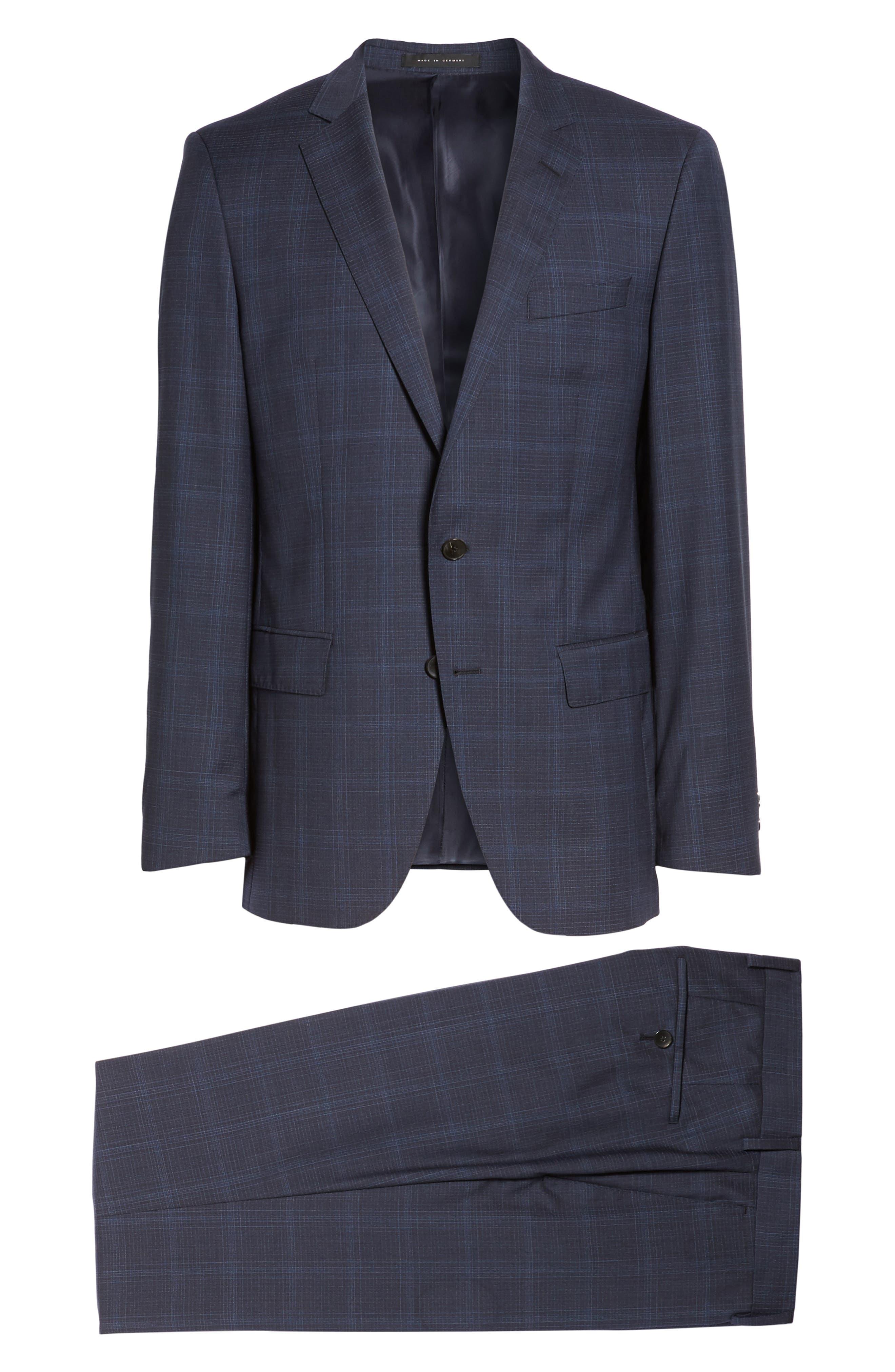 Huge/Genius Trim Fit Plaid Wool Suit,                             Alternate thumbnail 8, color,                             410