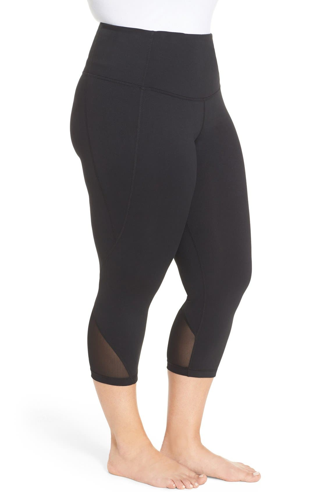 Hatha High Waist Crop Leggings,                             Alternate thumbnail 4, color,                             001
