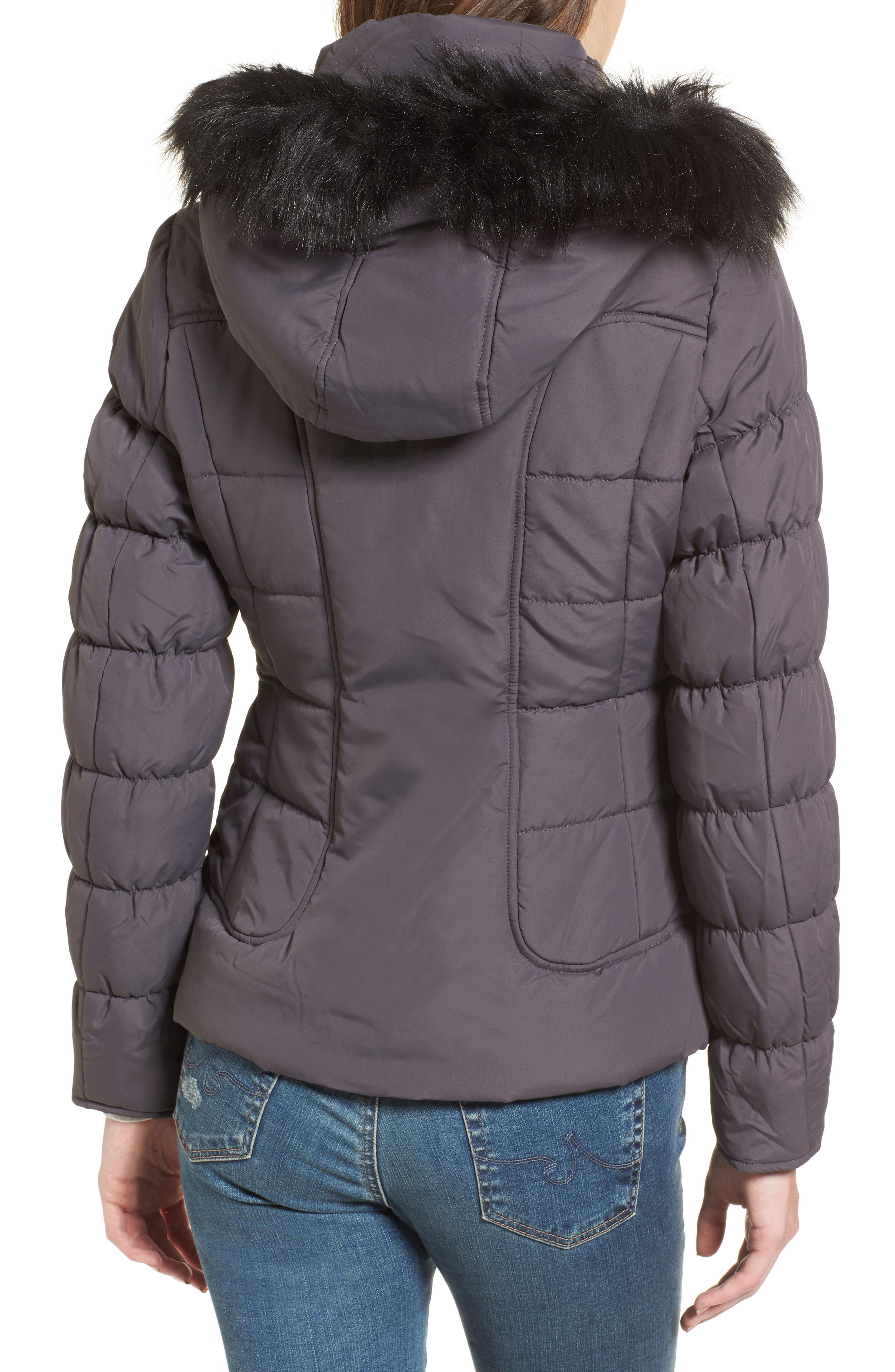 Quilted Jacket with Faux Fur Collar,                             Alternate thumbnail 3, color,