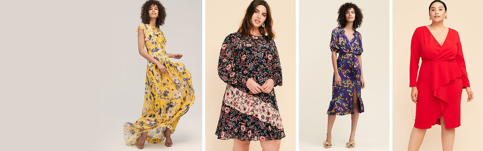 Pretty blossoms + bright hues: women's dresses.