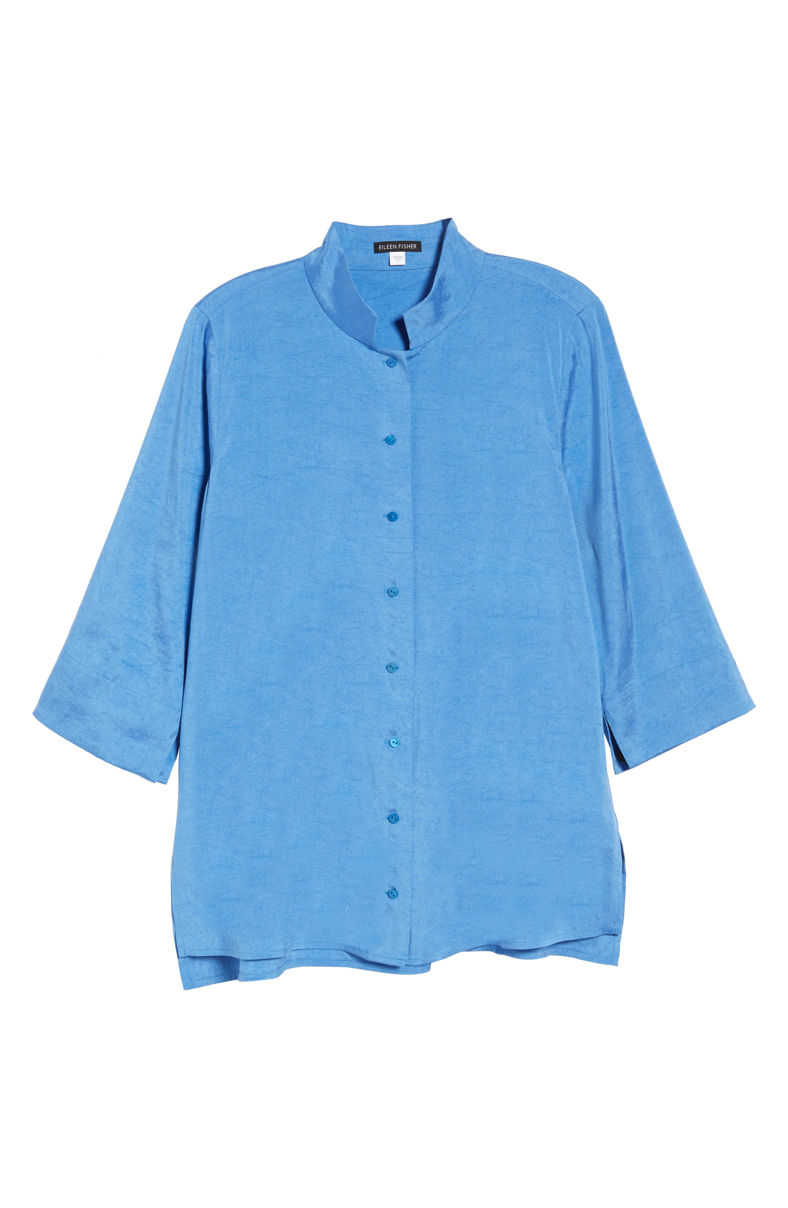 Crinkled Satin Silk Shirt,                             Alternate thumbnail 7, color,                             405