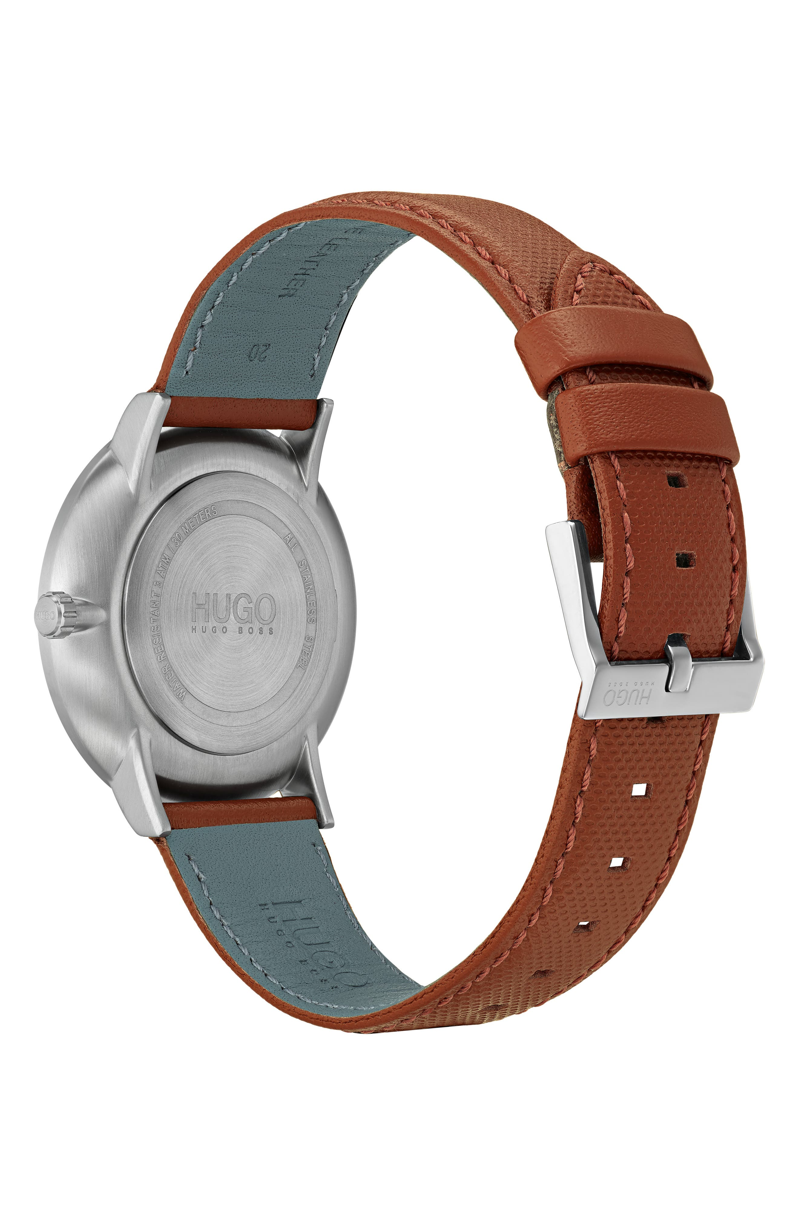 Ultra Slim Leather Strap Watch, 40mm,                             Alternate thumbnail 2, color,                             BLUE