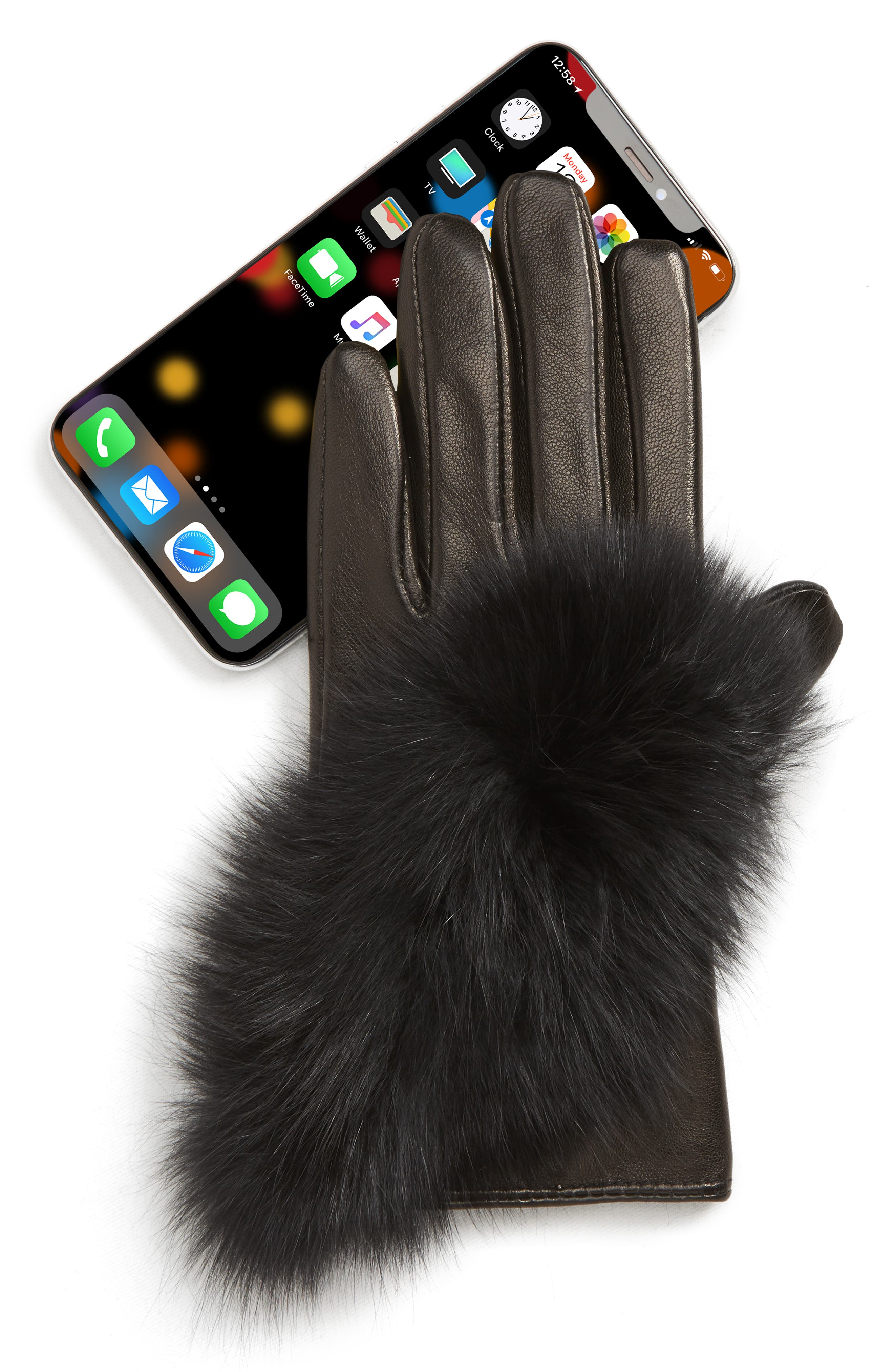 ECHO,                             Lambskin Leather Touchscreen Gloves with Genuine Fox Fur Trim,                             Alternate thumbnail 2, color,                             BLACK
