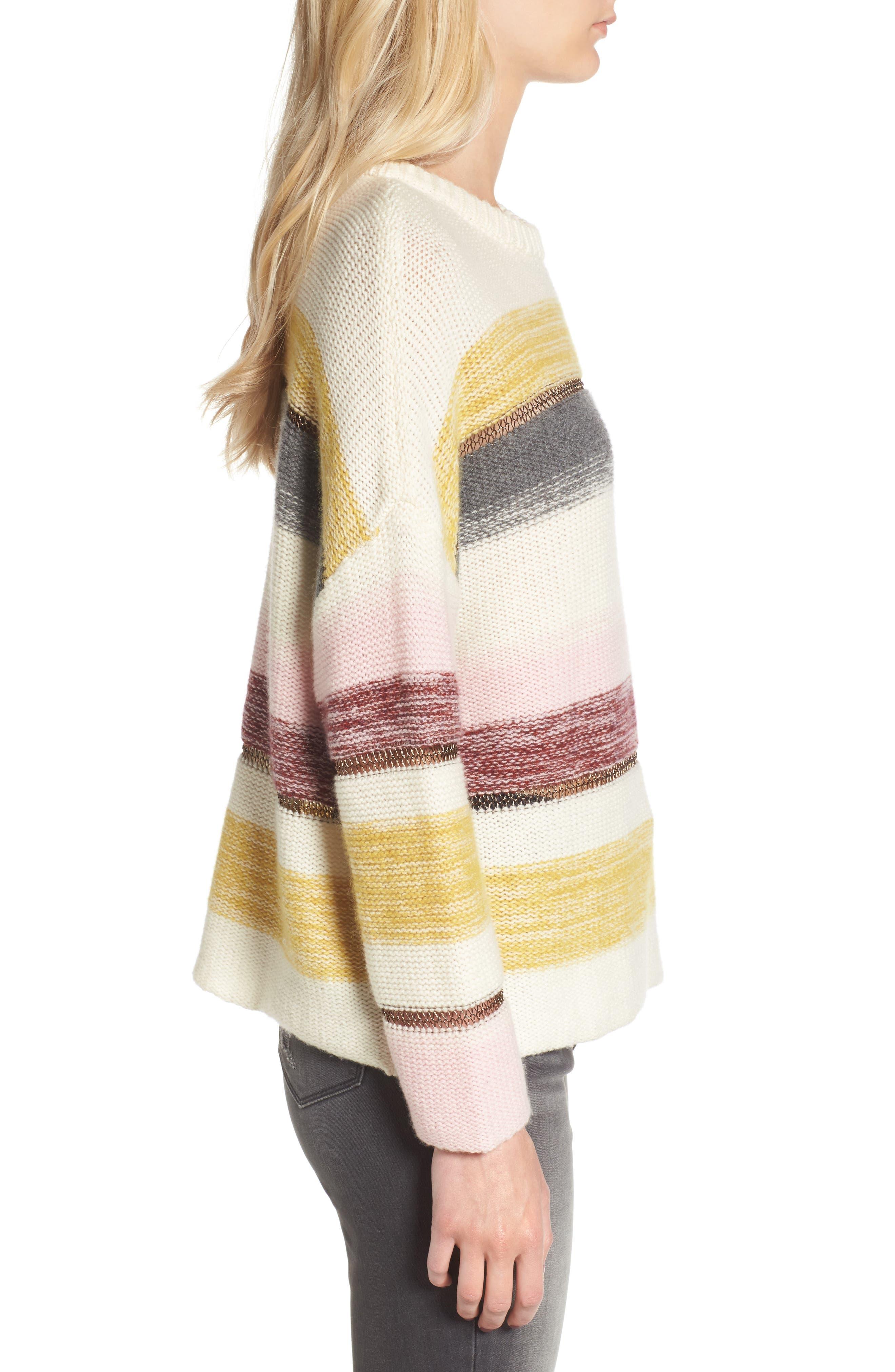 Daphne Stripe Wool & Cashmere Sweater,                             Alternate thumbnail 3, color,                             672