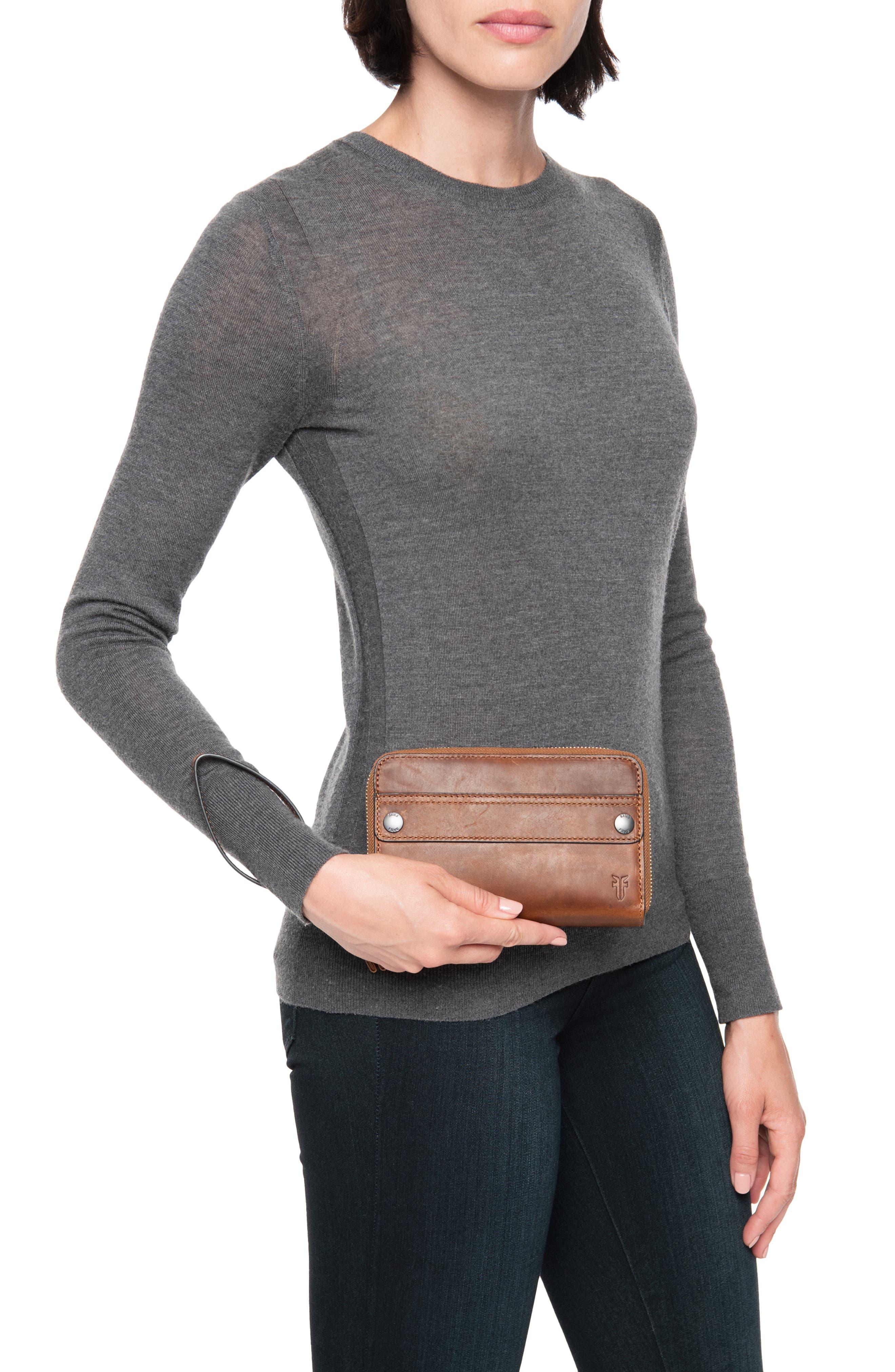 Melissa Large Leather Phone Wallet,                             Alternate thumbnail 2, color,                             COGNAC