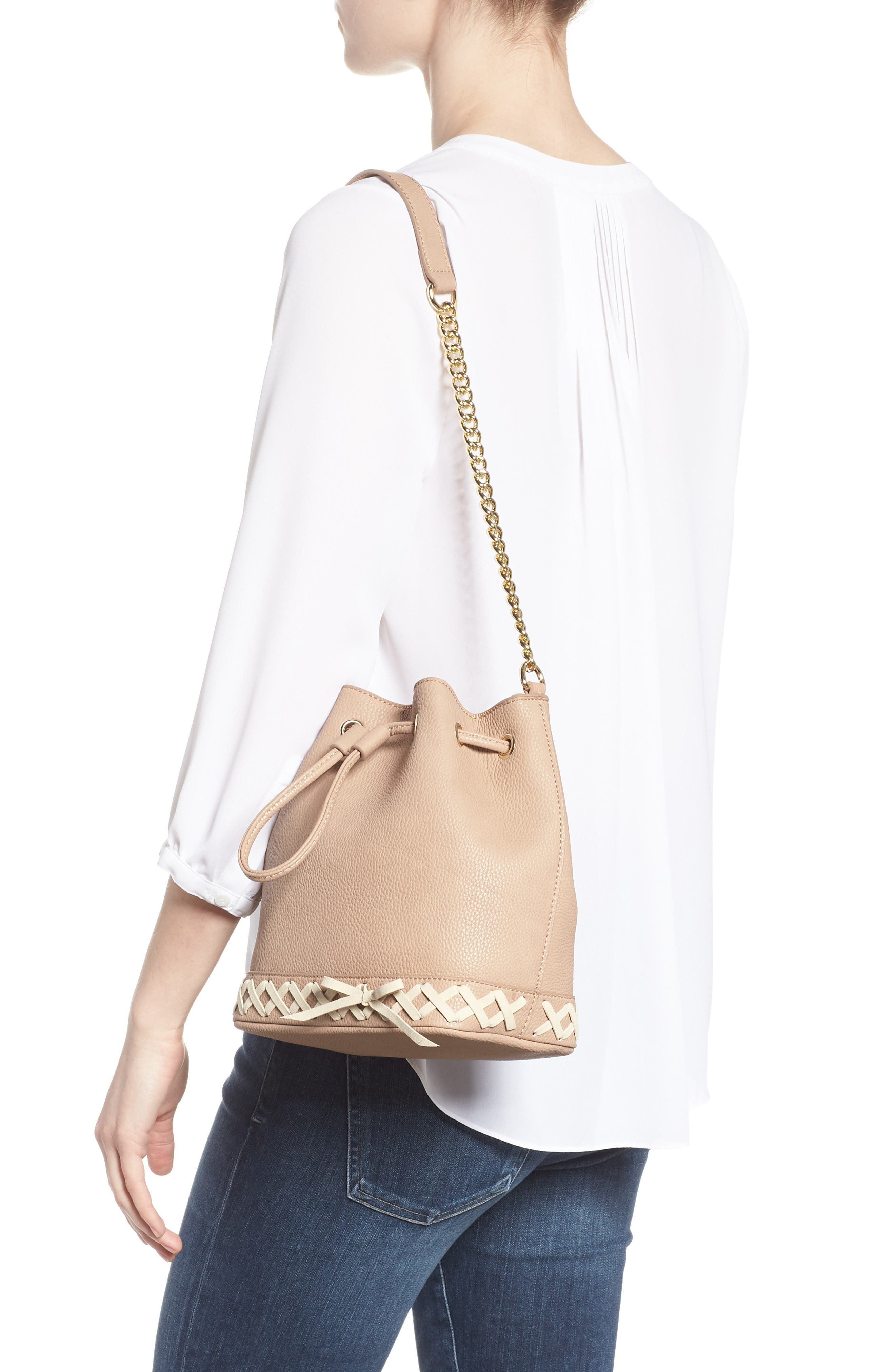 Veronica Faux Leather Bucket Bag,                             Alternate thumbnail 3, color,