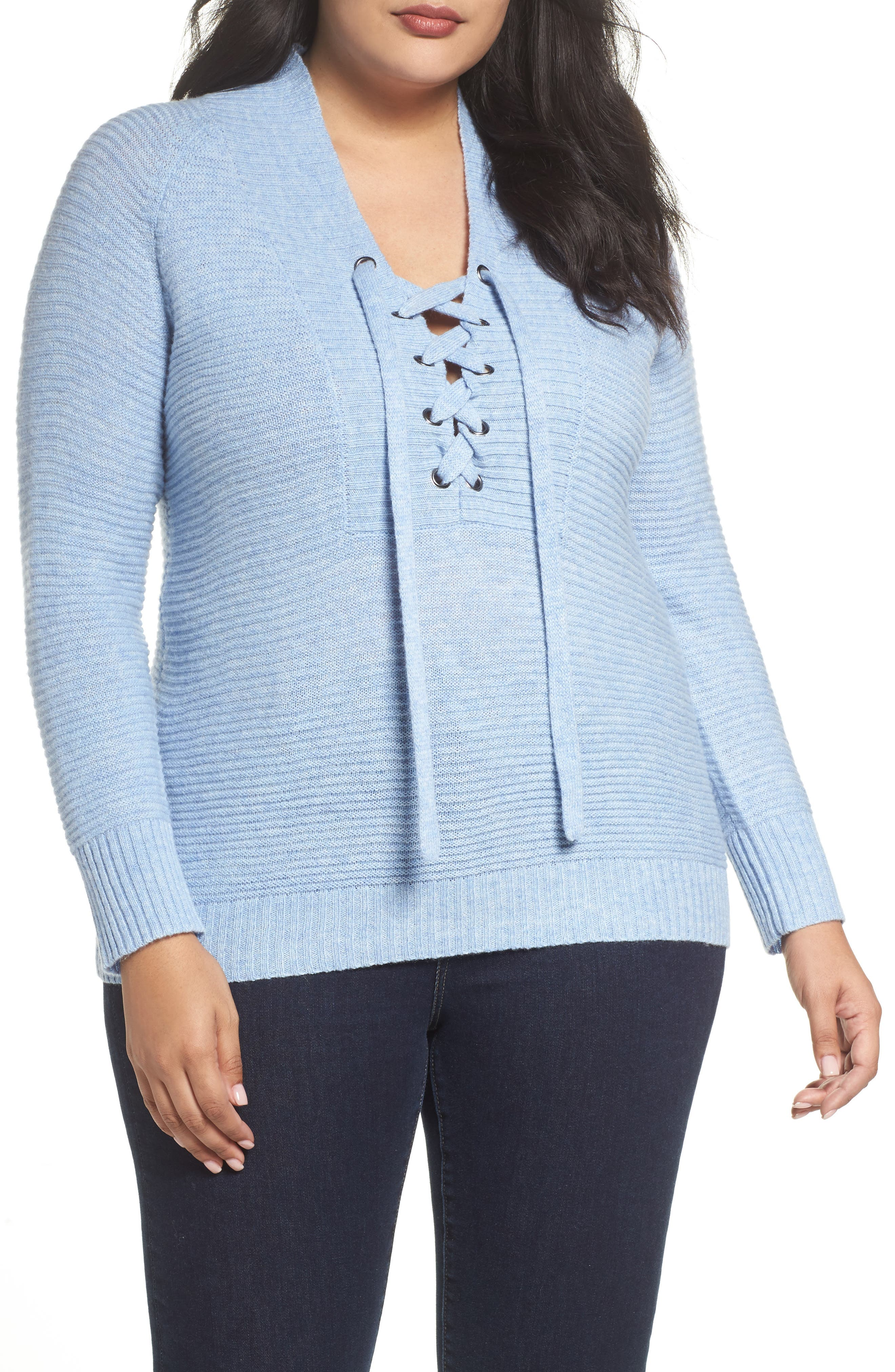 Lace-Up Sweater,                             Main thumbnail 2, color,
