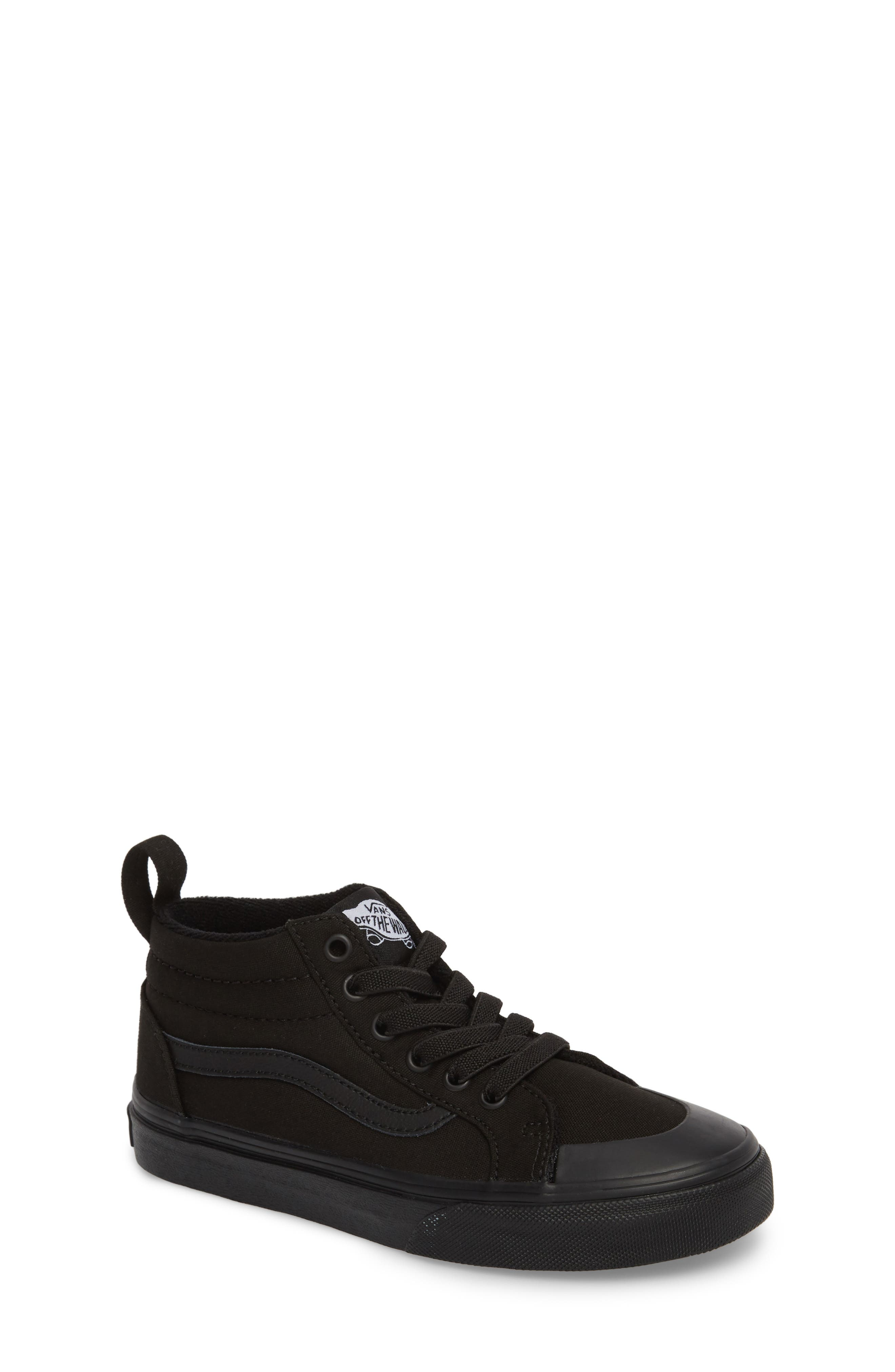 Racer Mid Elastic Lace Sneaker,                             Main thumbnail 1, color,                             BLACK/ BLACK