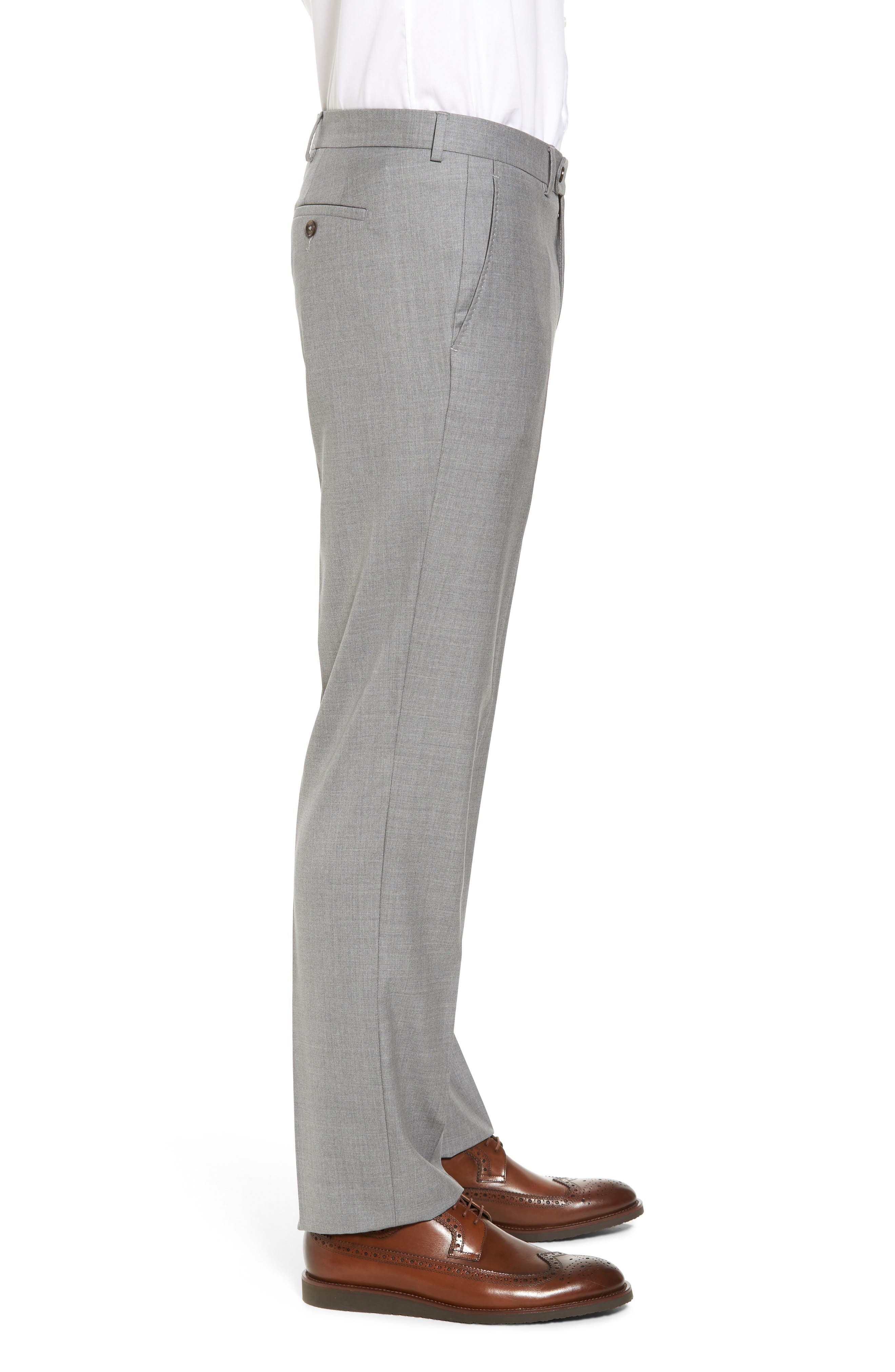 Peter Millar Multi Season Super 150s Wool Flat Front Trousers,                             Alternate thumbnail 3, color,                             047