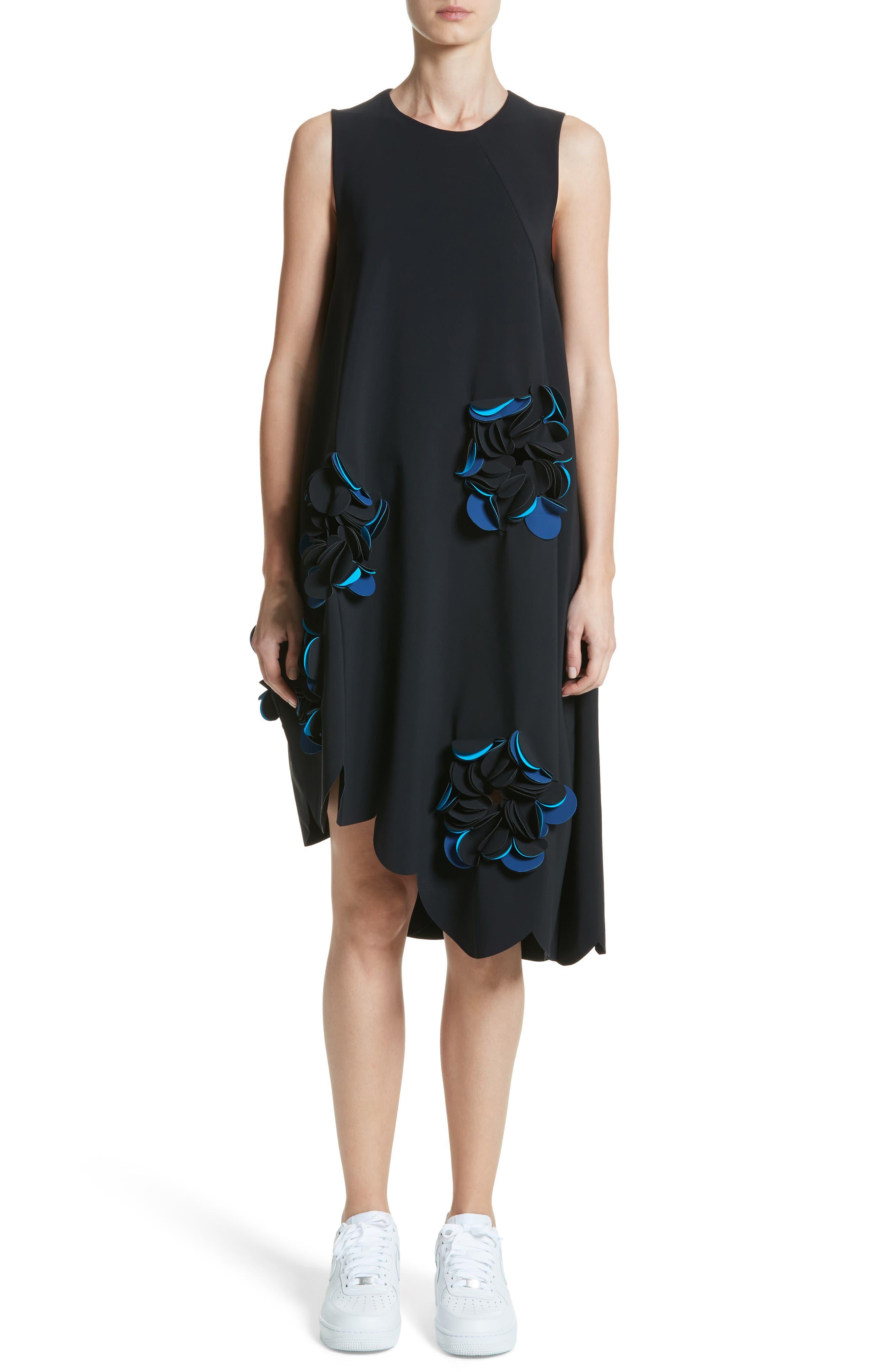 Appliqué Scallop Hem Dress,                         Main,                         color, 001