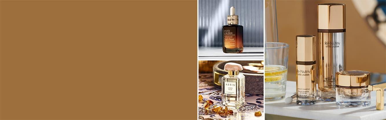 Estée Lauder Advanced Night Repair and Re-Nutriv skin care, plus AERIN Beauty eau de parfum.