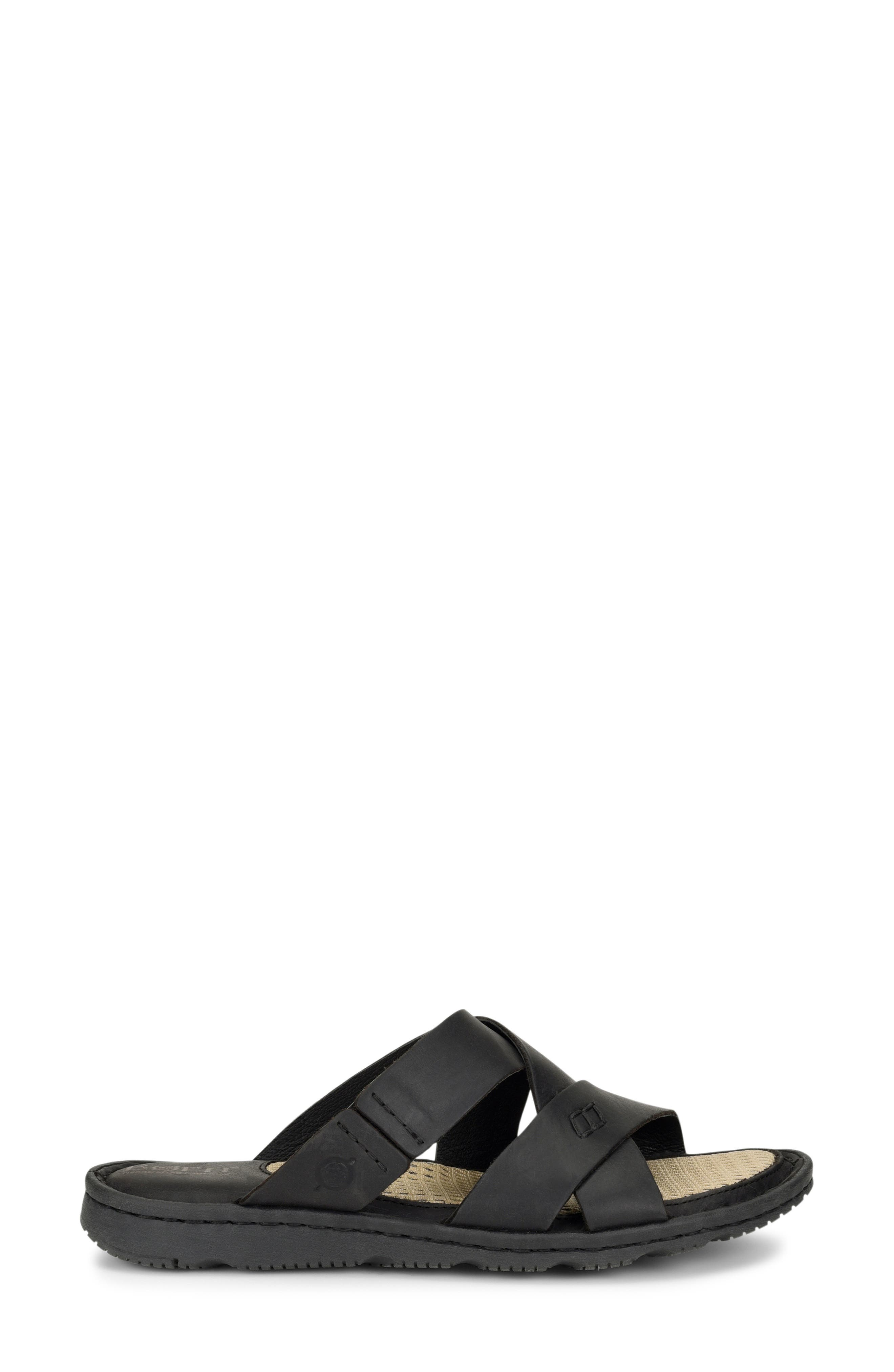 Hayka Asymmetrical Slide Sandal,                             Alternate thumbnail 3, color,                             BLACK LEATHER