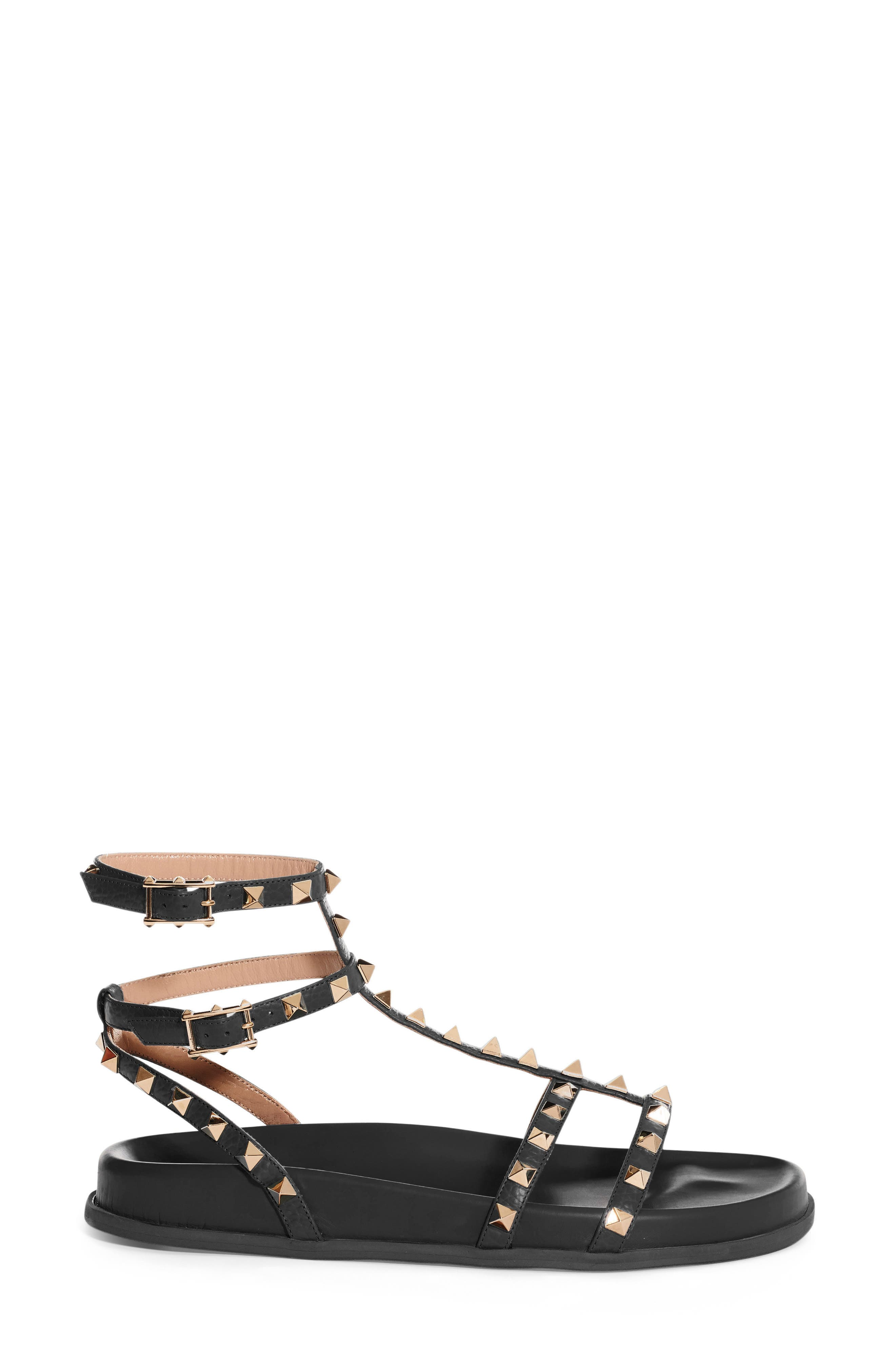 Rockstud Flatform Sandal,                             Alternate thumbnail 4, color,                             001