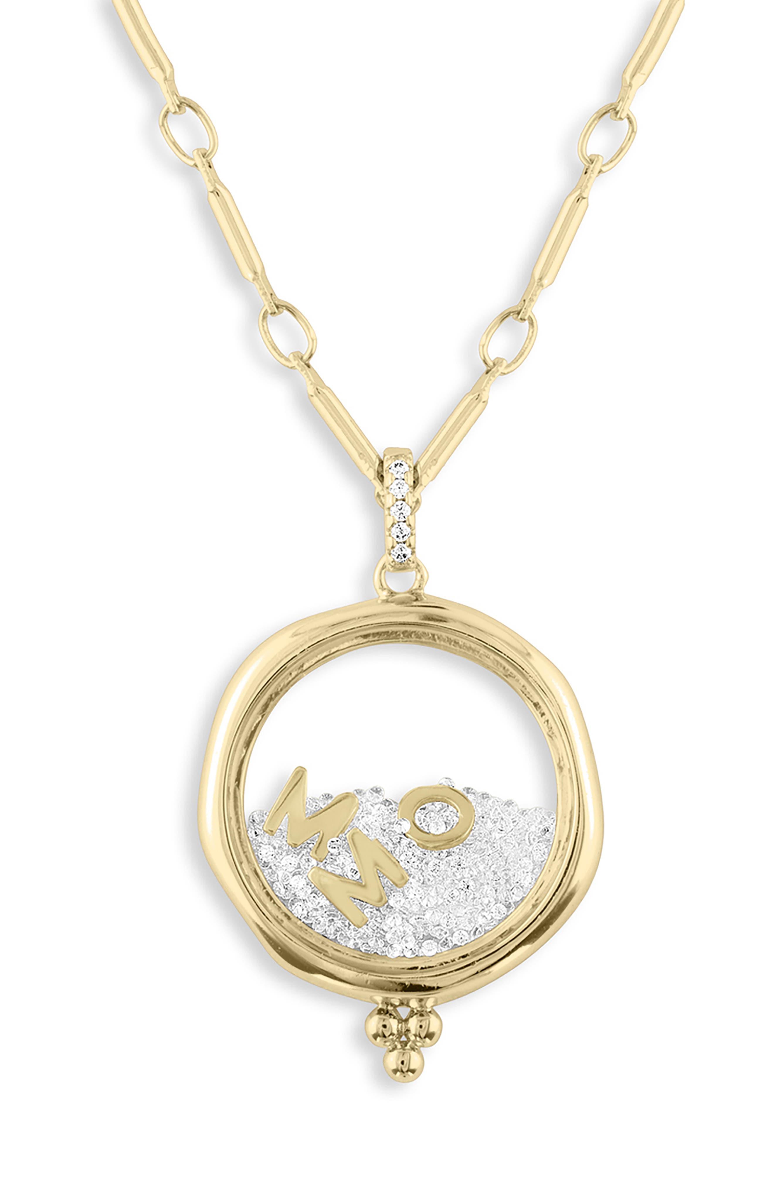 x Kristina Schulman Mom Shaker Pendant Necklace,                             Main thumbnail 1, color,                             GOLD