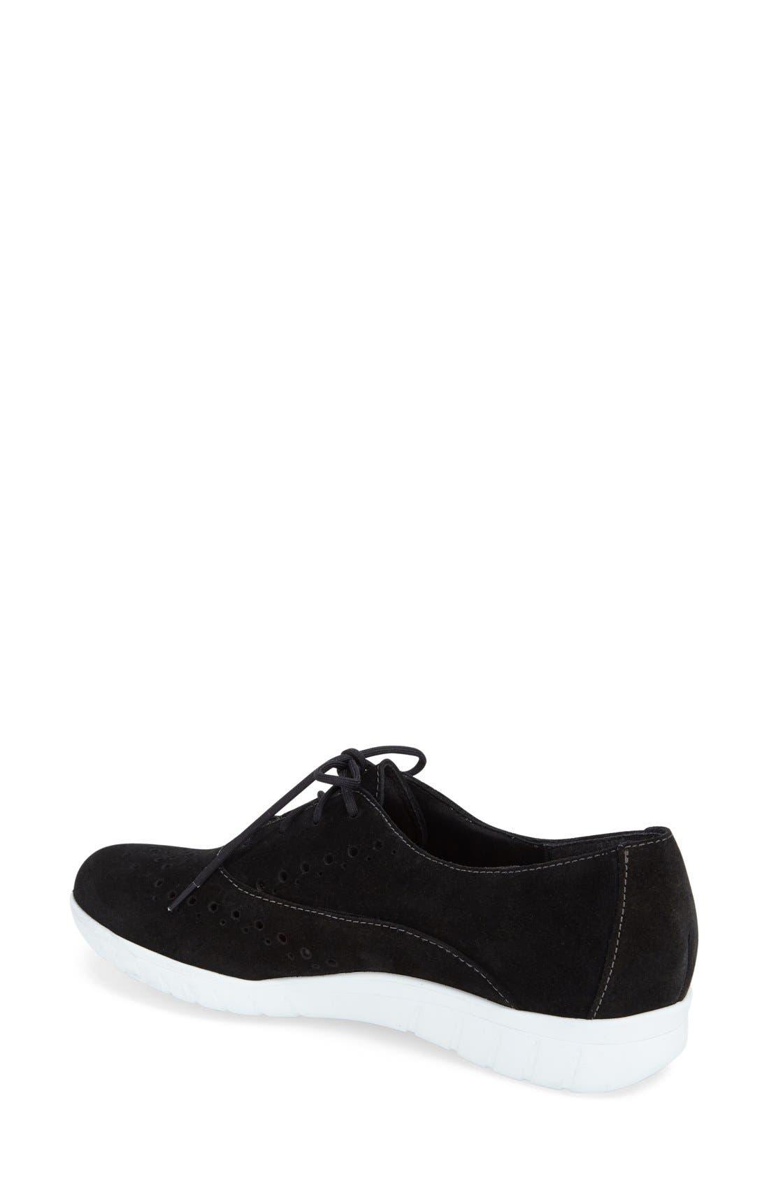 'Wellesley' Oxford Sneaker,                             Alternate thumbnail 3, color,                             BLACK SUEDE