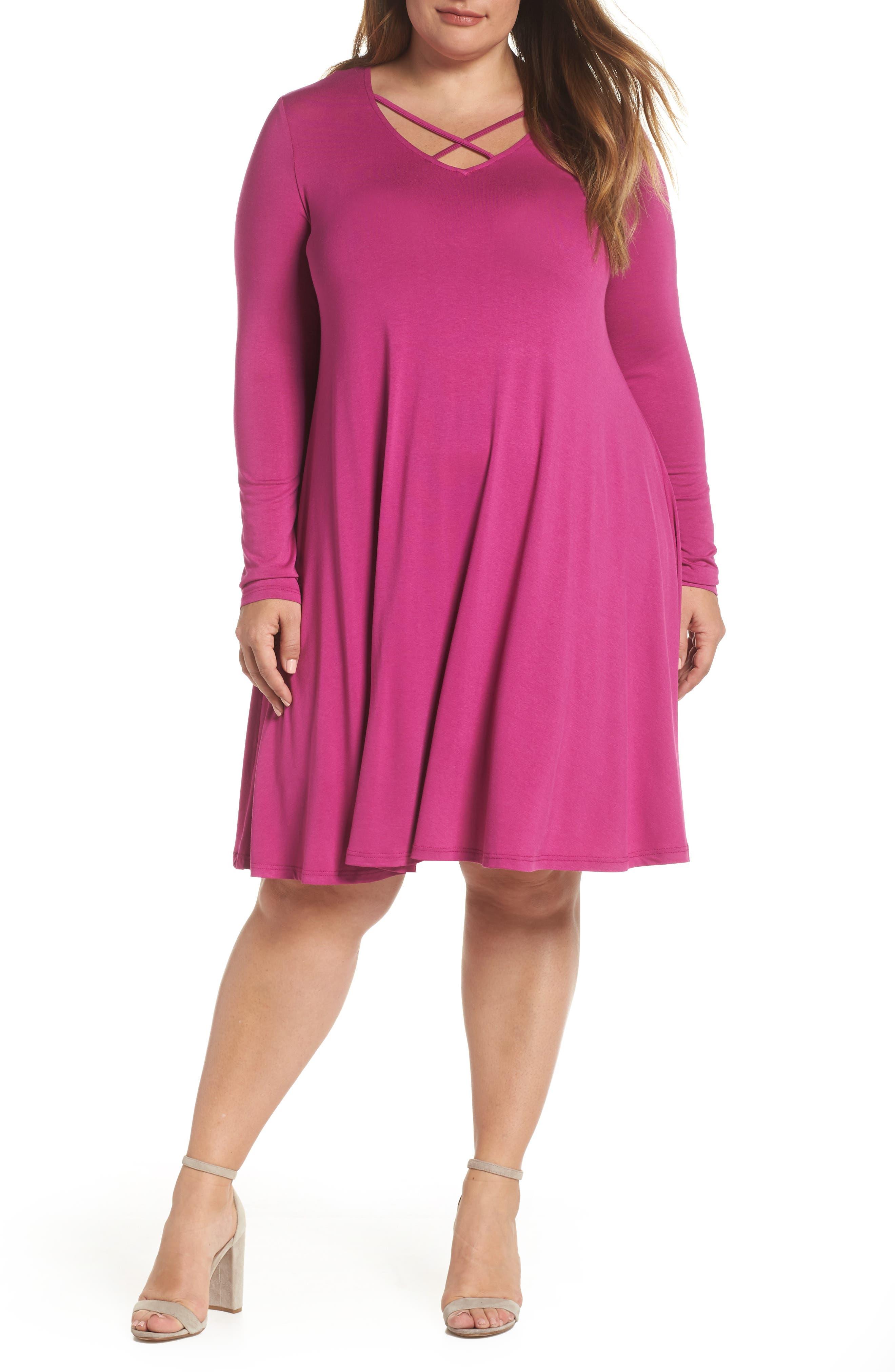 GLAMOROUS Neck Strap Detail Shift Dress in Cerise