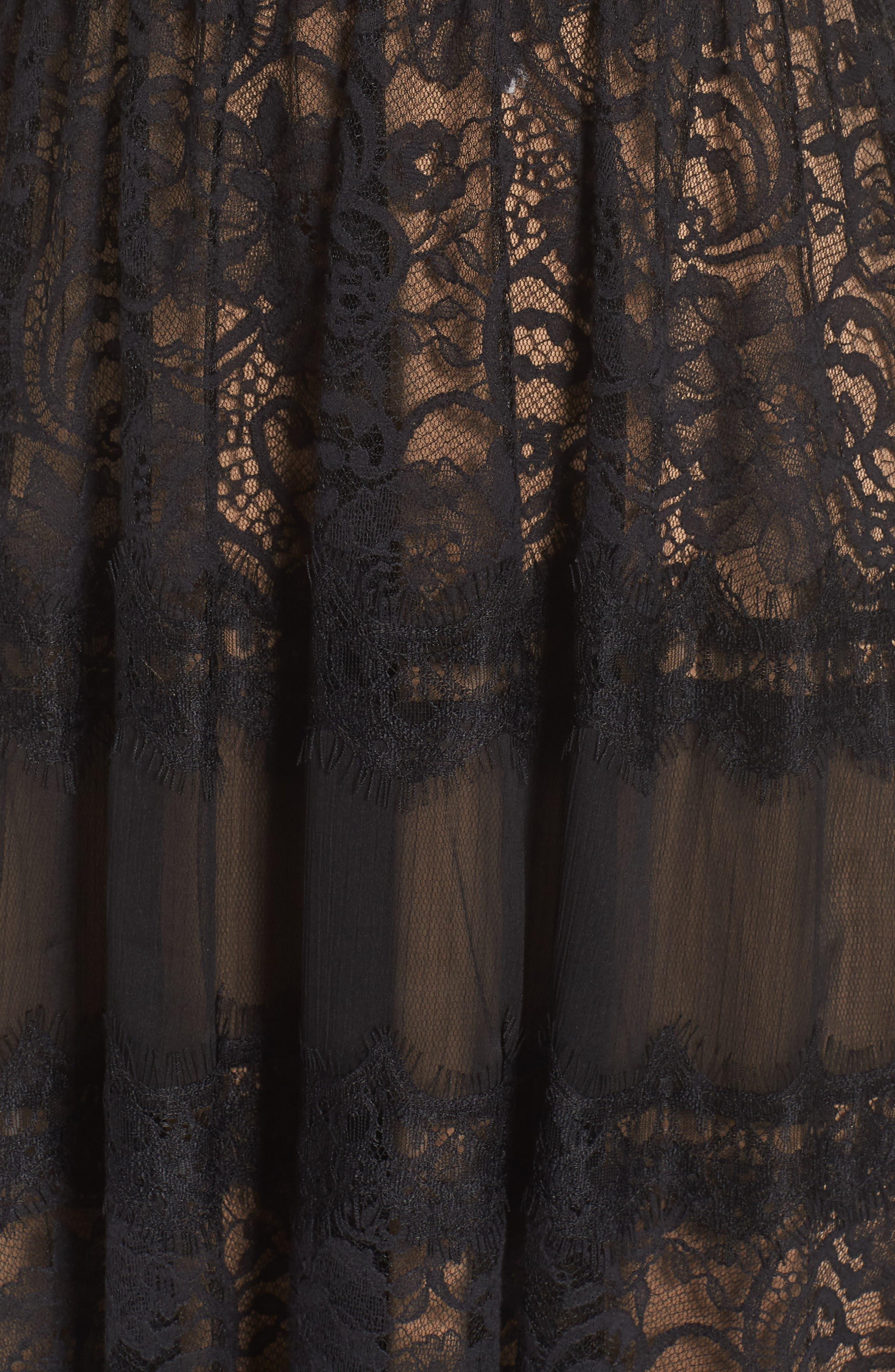 Lace Gown,                             Alternate thumbnail 6, color,                             BLACK/ NUDE