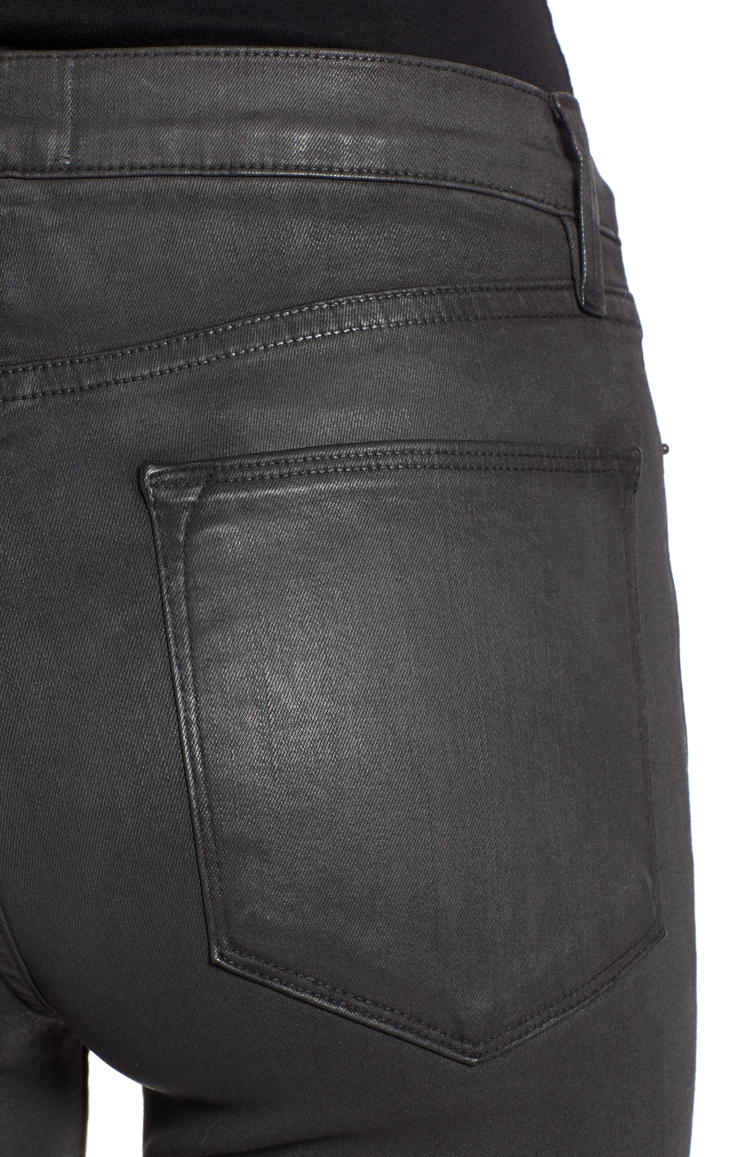 Le High Ankle Skinny Jeans,                             Alternate thumbnail 4, color,                             STONE COATED