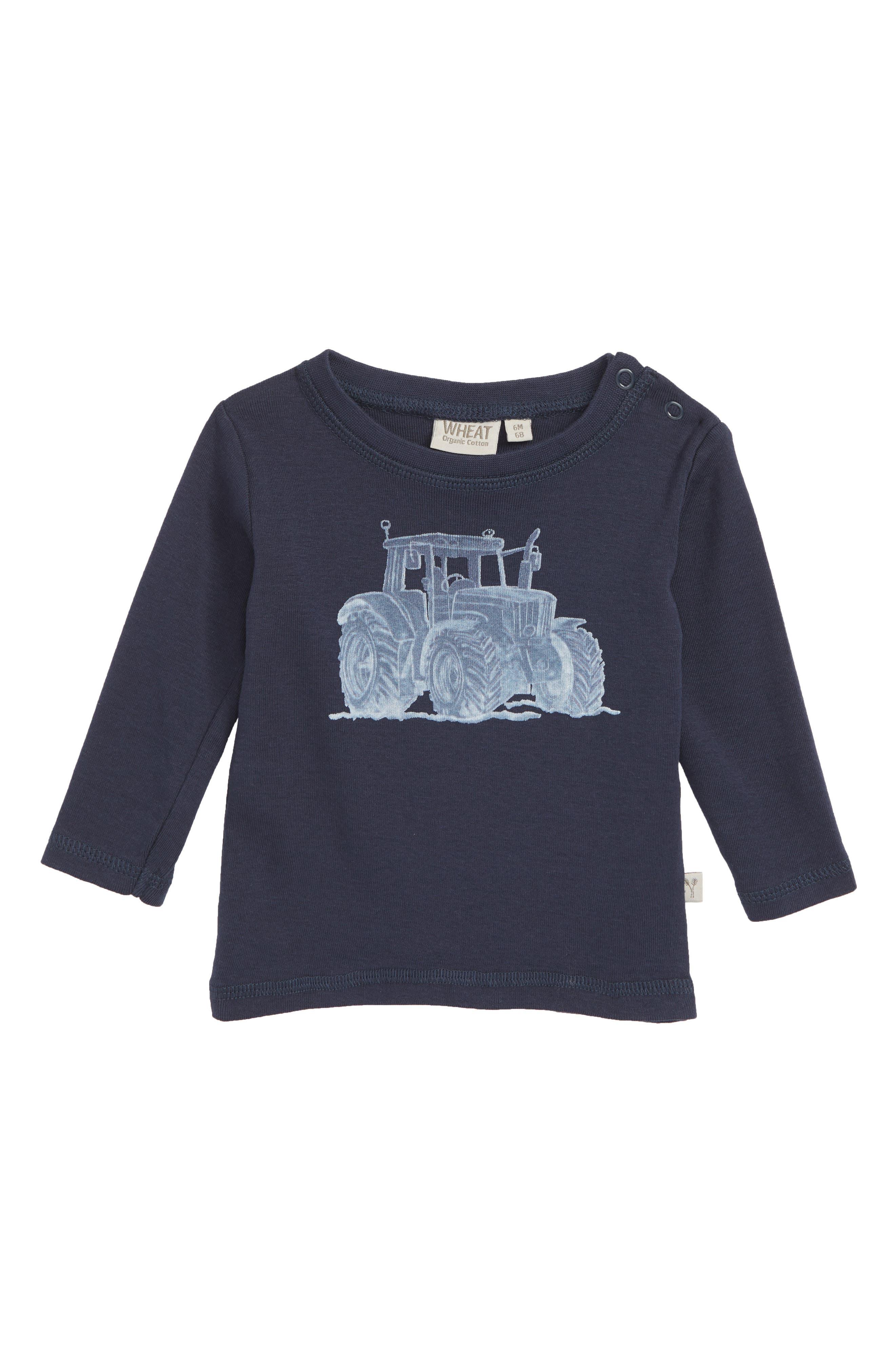 WHEAT,                             Tractor Organic Cotton T-Shirt,                             Main thumbnail 1, color,                             NAVY