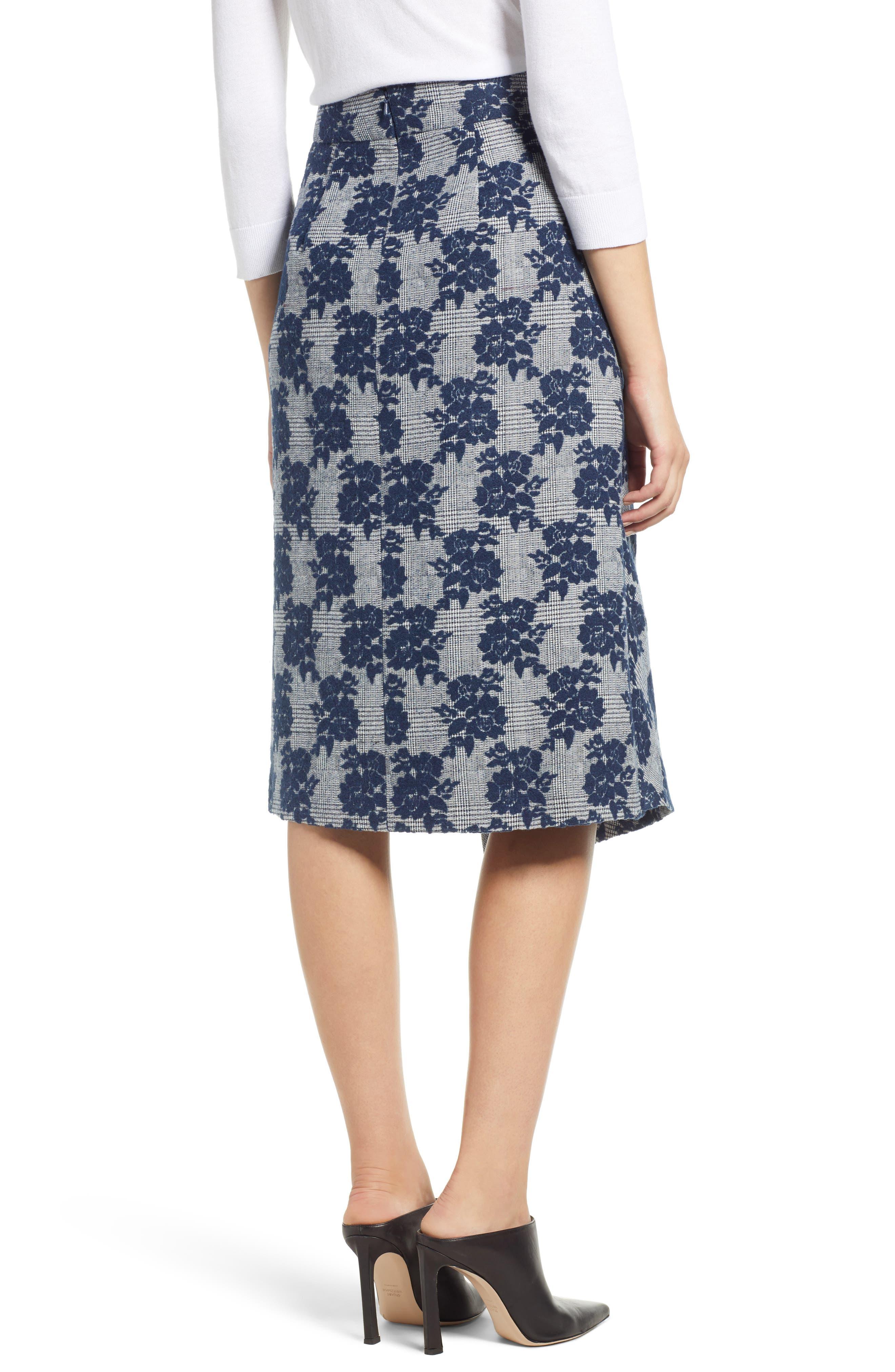 Floral Plaid Asymmetrical Skirt,                             Alternate thumbnail 2, color,                             BLUE PLAID FLORAL