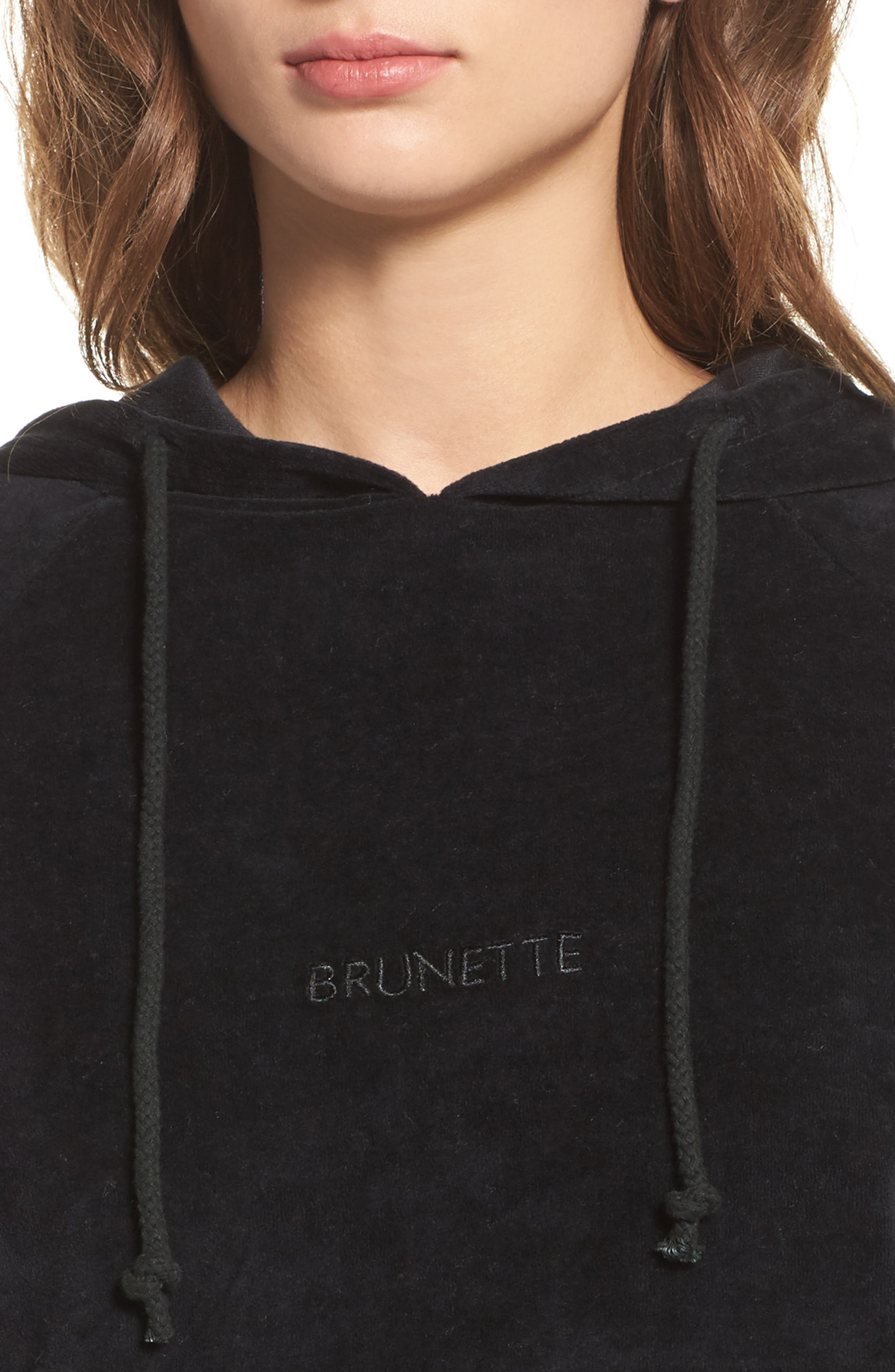 Brunette Embroidered Velour Hoodie,                             Alternate thumbnail 4, color,
