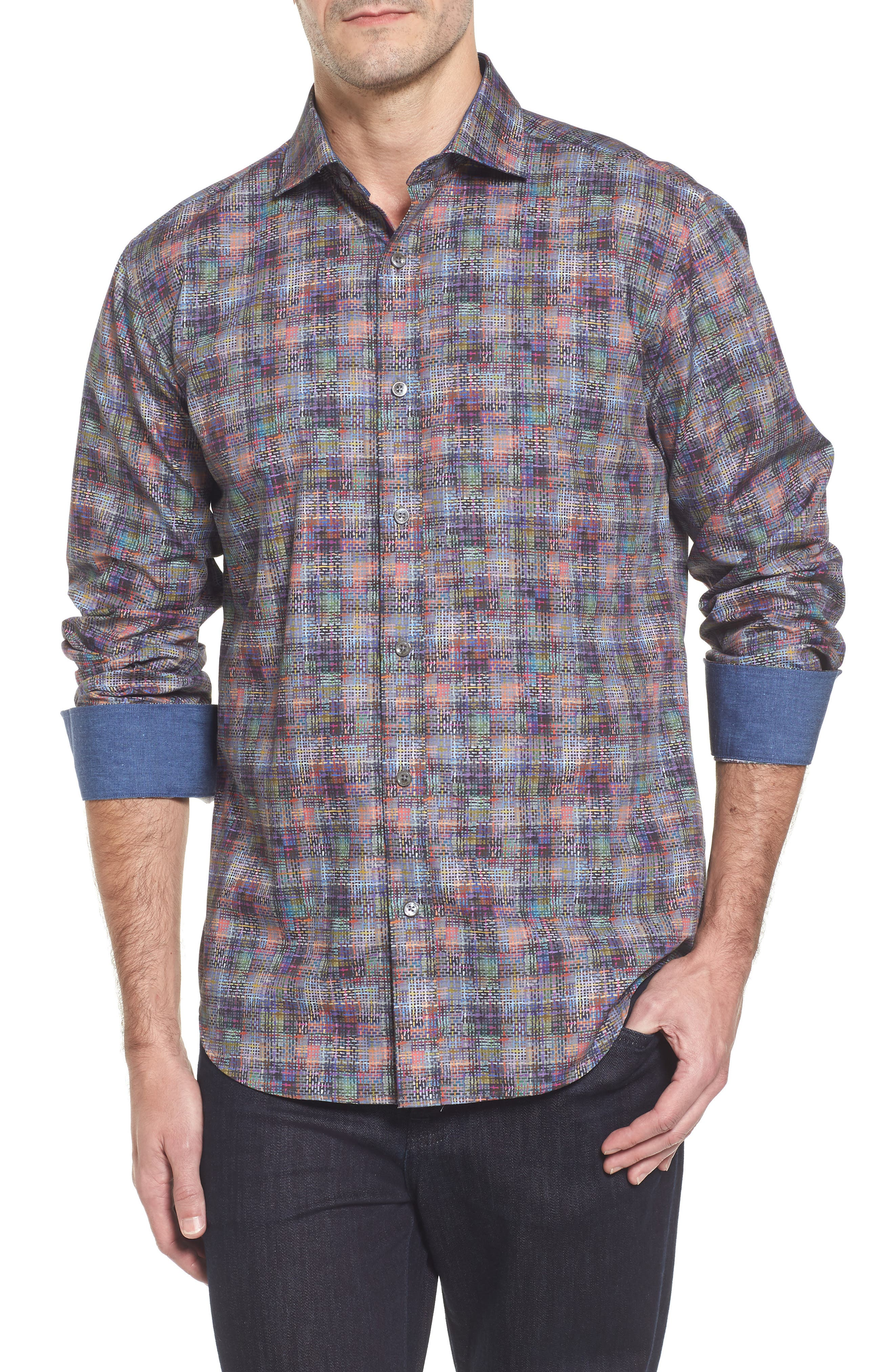 Shaped Fit Print Sport Shirt,                         Main,                         color, 513
