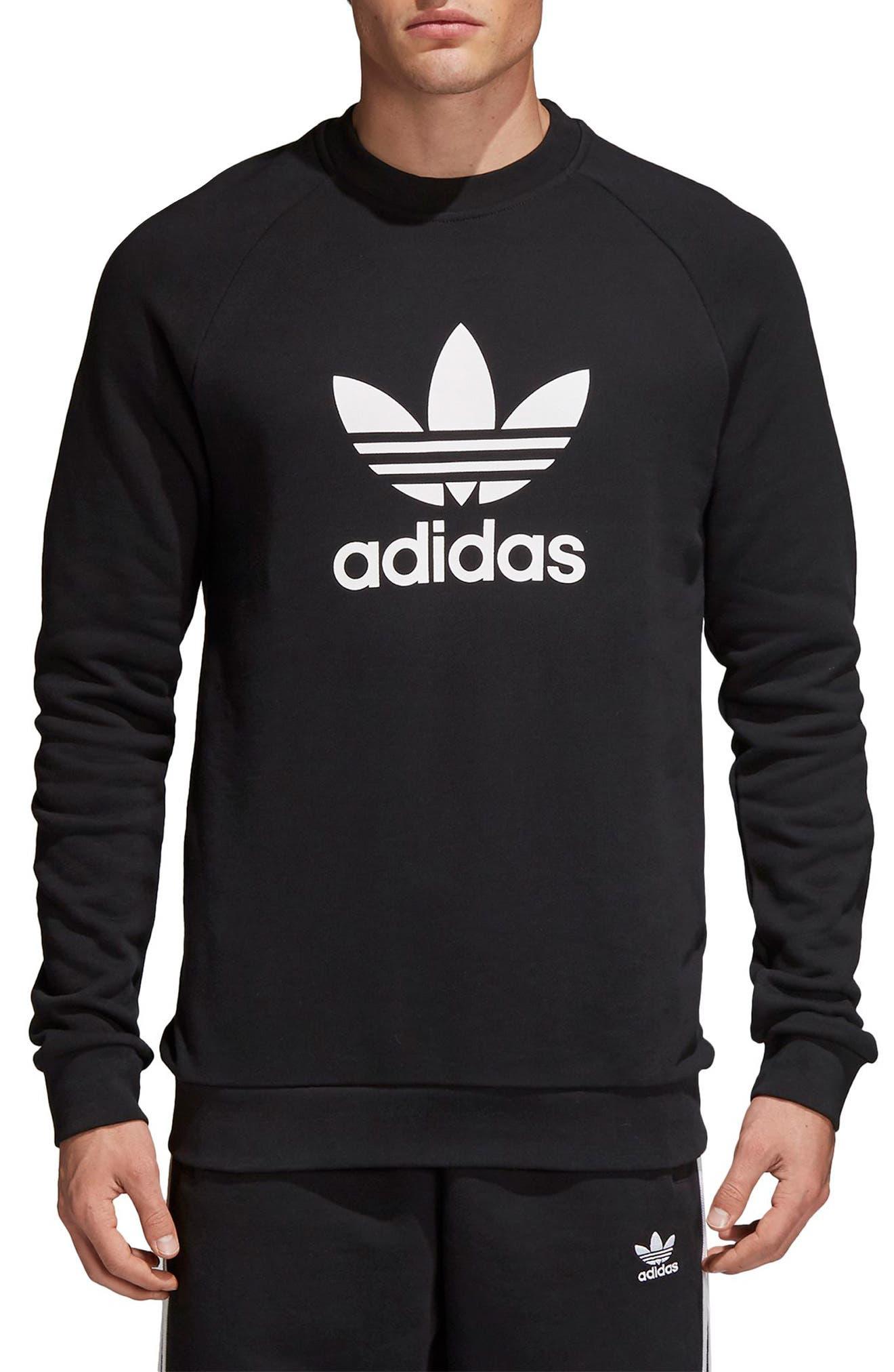 Trefoil Sweatshirt, Main, color, BLACK
