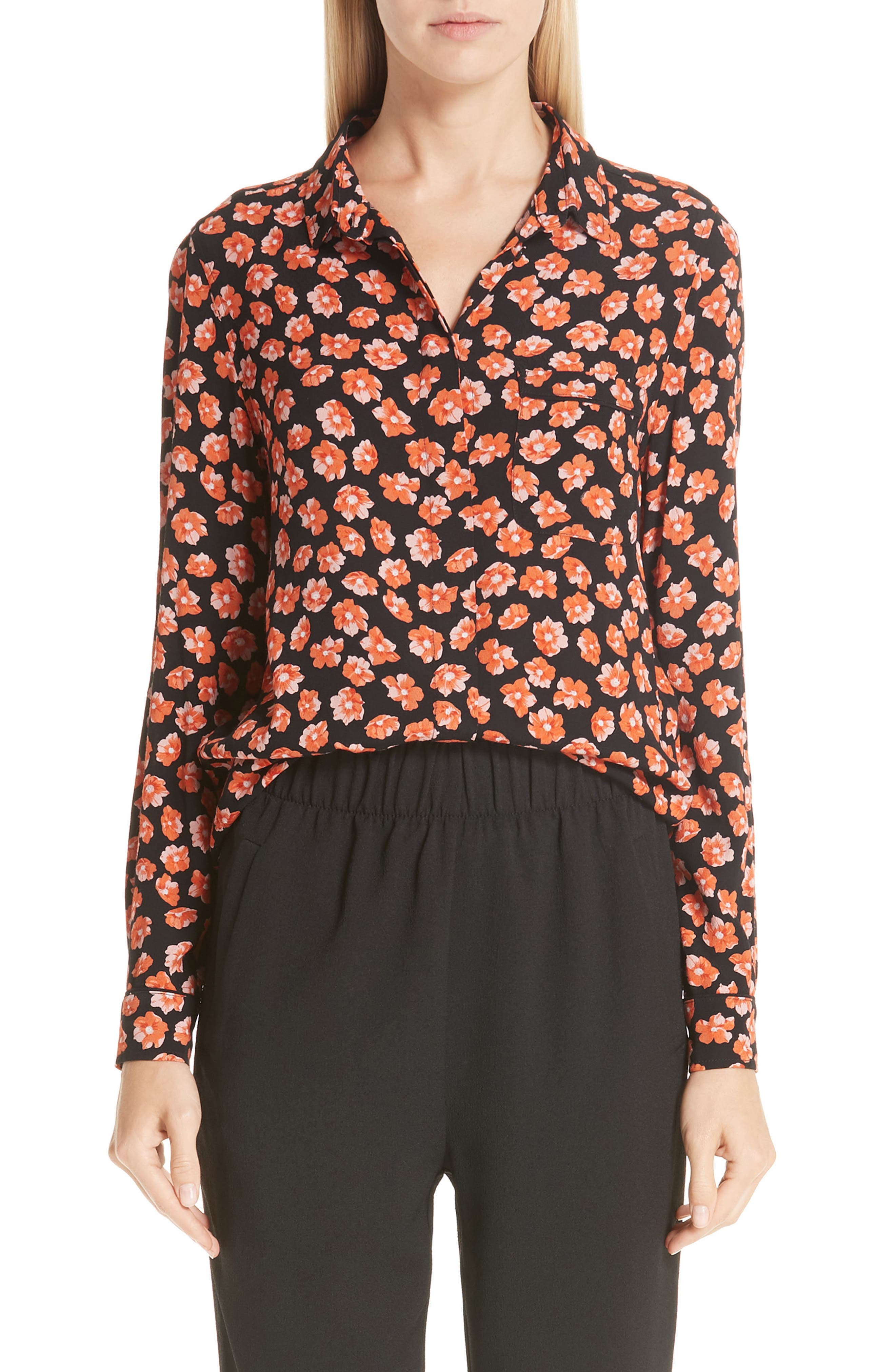 GANNI Print Crepe Blouse, Main, color, FIERY RED 403