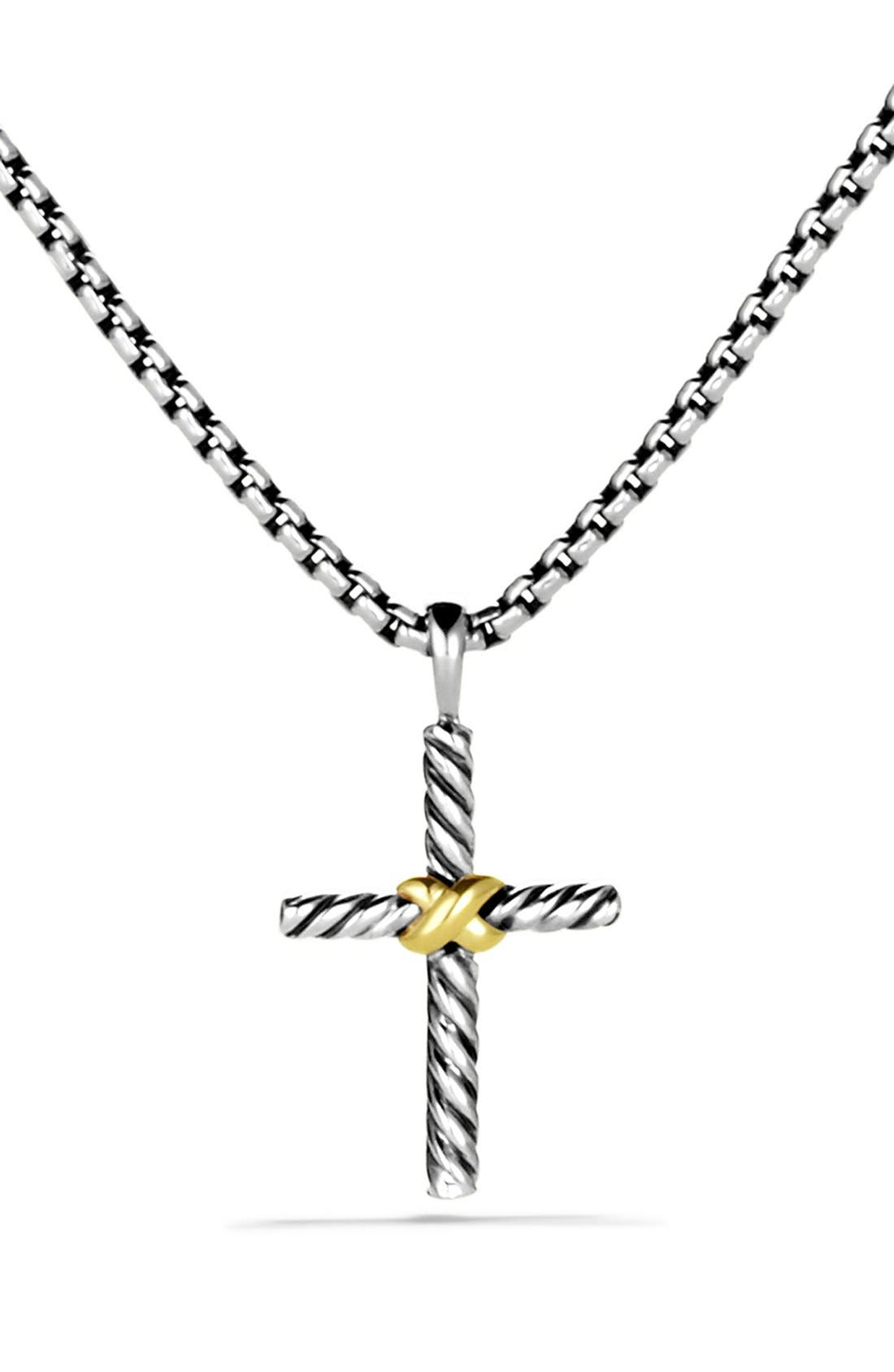 'X' Cross with Gold on Chain,                         Main,                         color, TWO TONE