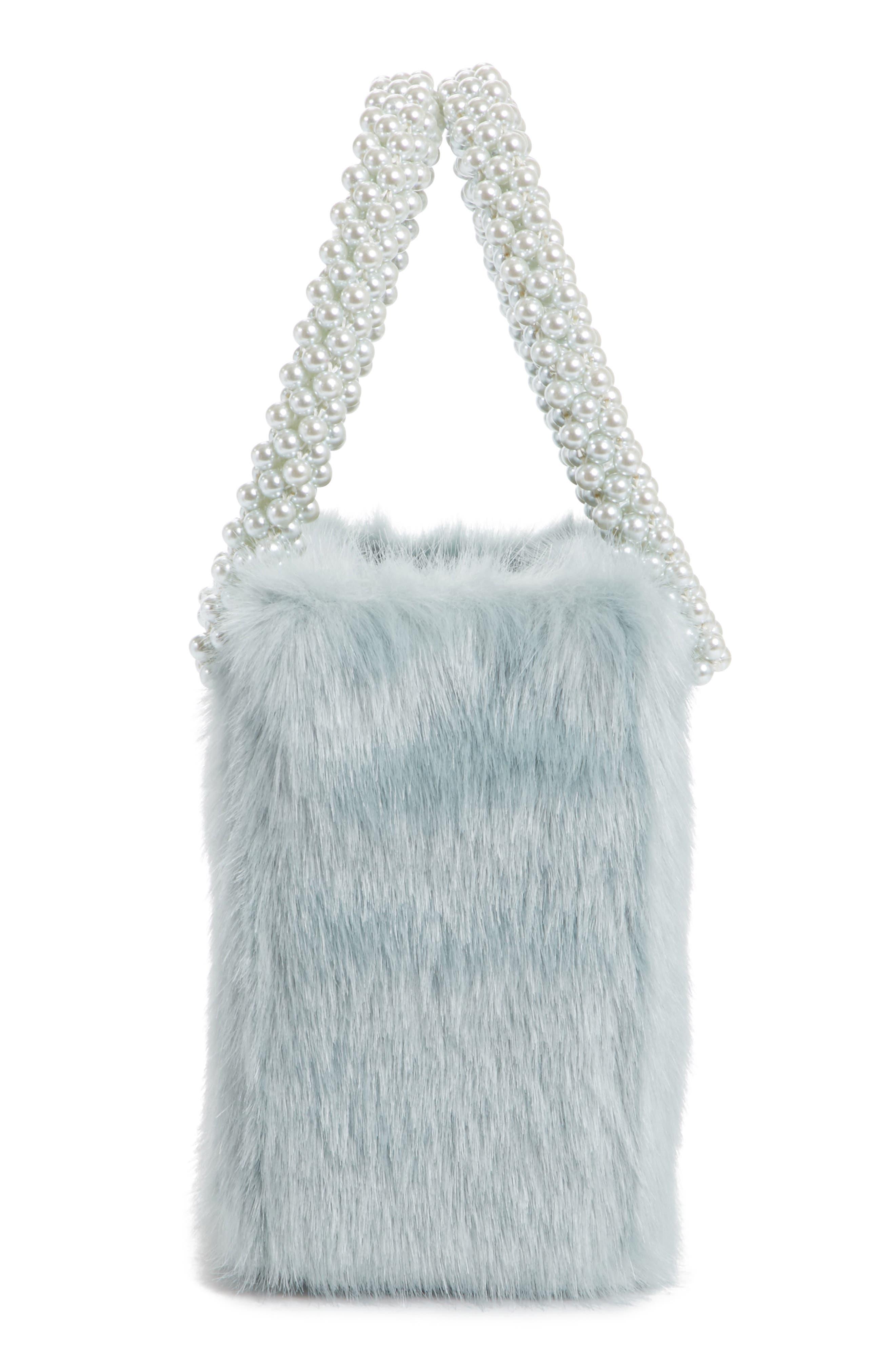 Una Check Faux Fur Bag with Imitation Pearl Handles,                             Alternate thumbnail 5, color,                             440