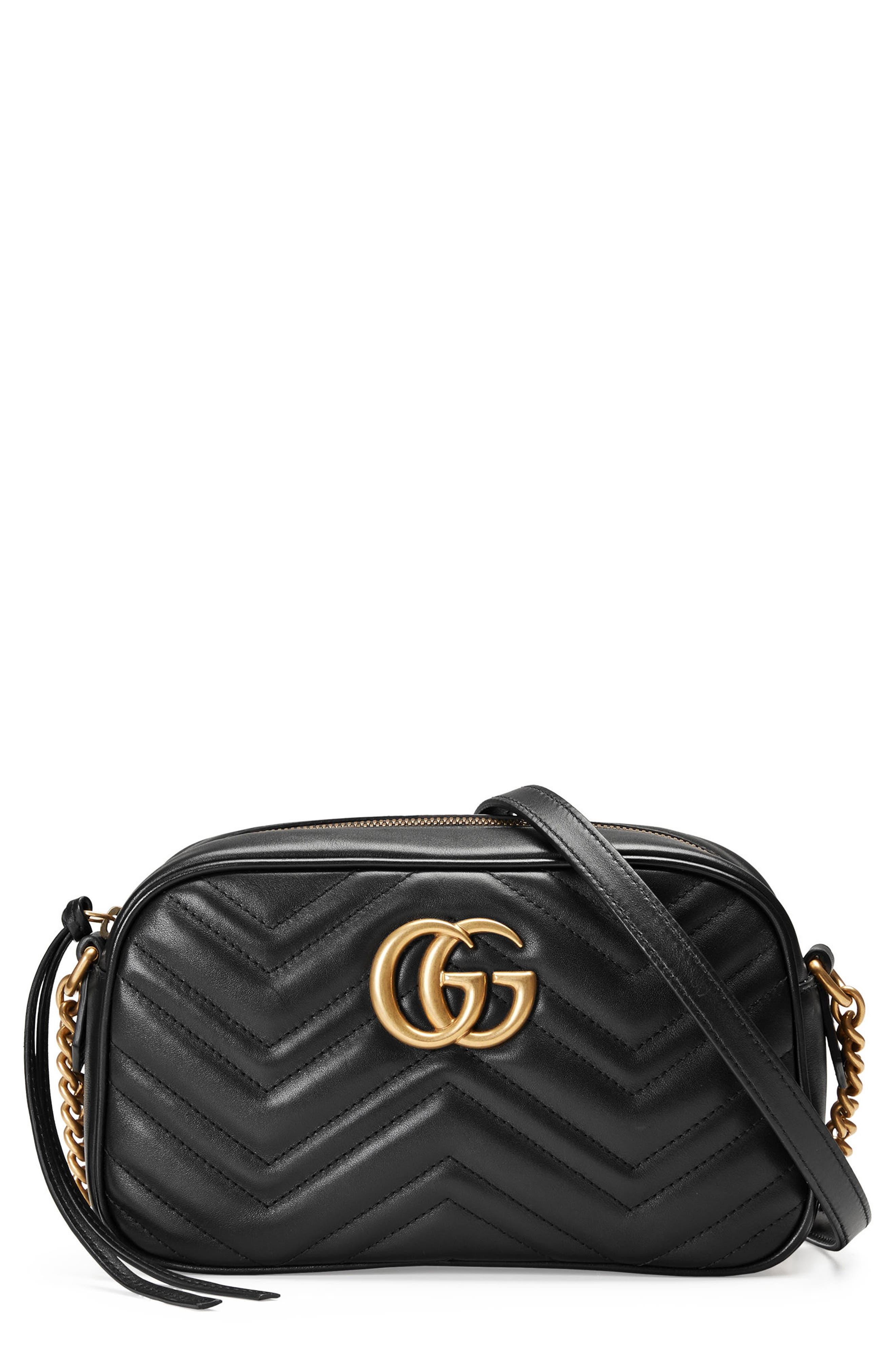 GUCCI,                             GG Marmont 2.0 Matelassé Leather Camera Bag,                             Main thumbnail 1, color,                             001