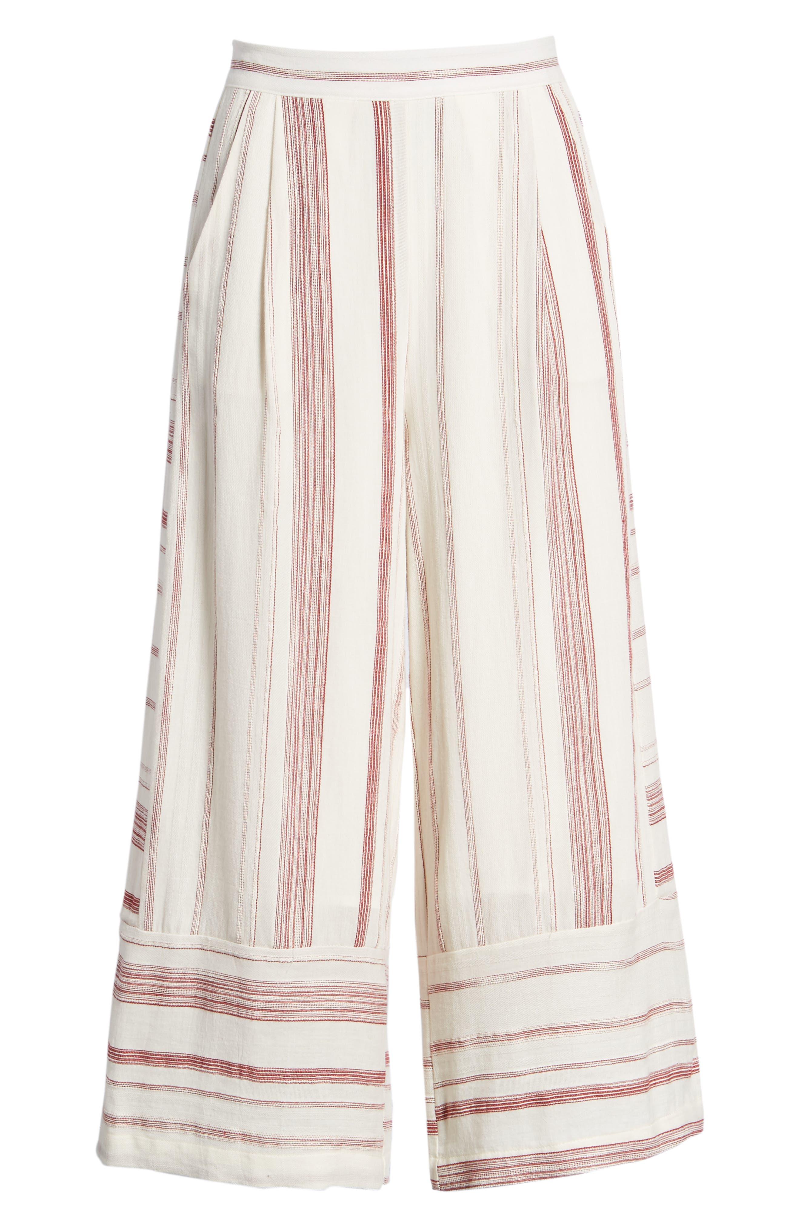 Mariana Stripe Crop Wide Leg Pants,                             Alternate thumbnail 7, color,                             600