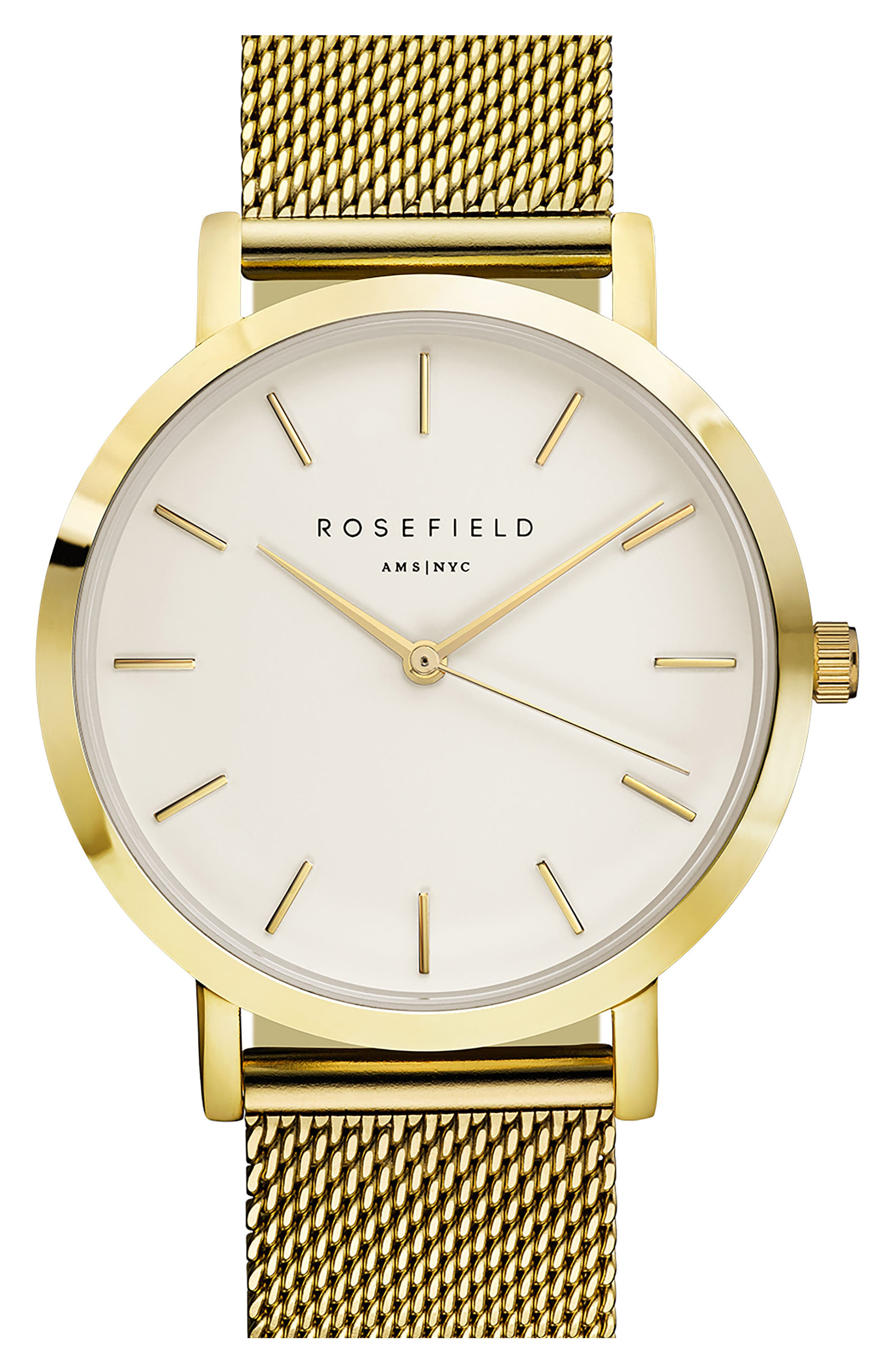 Mercer Mesh Strap Watch, 38mm,                         Main,                         color, GOLD/ WHITE/ GOLD