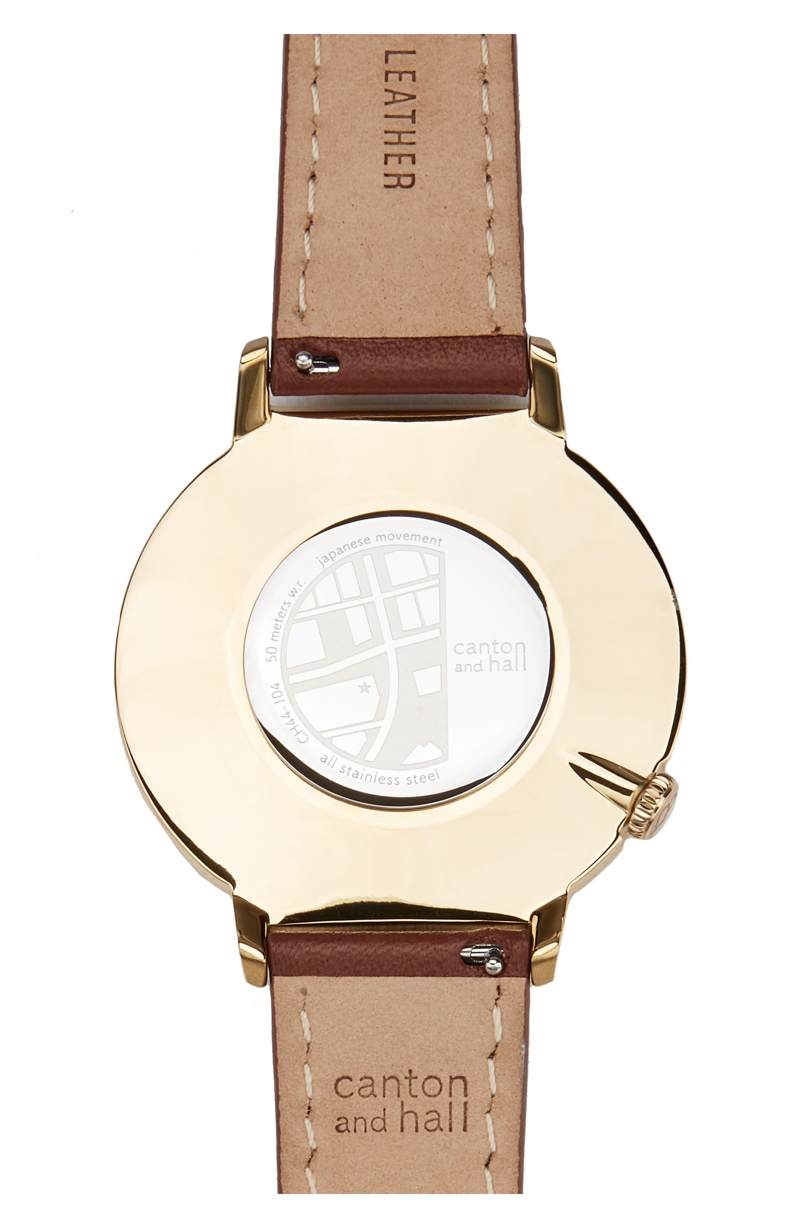 Davis Slim Leather Strap Watch, 44mm,                             Alternate thumbnail 2, color,                             200