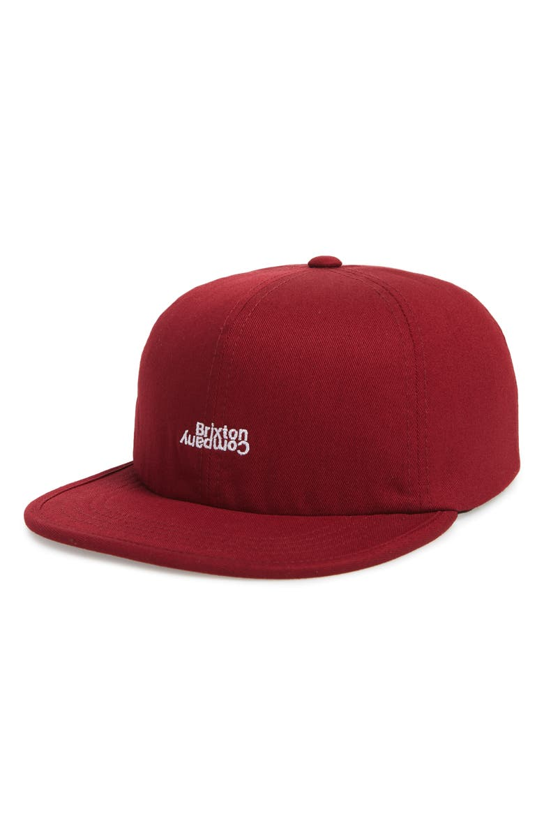 230919cf11a Brixton Revert Embroidered Logo Cap - Red In Burgundy