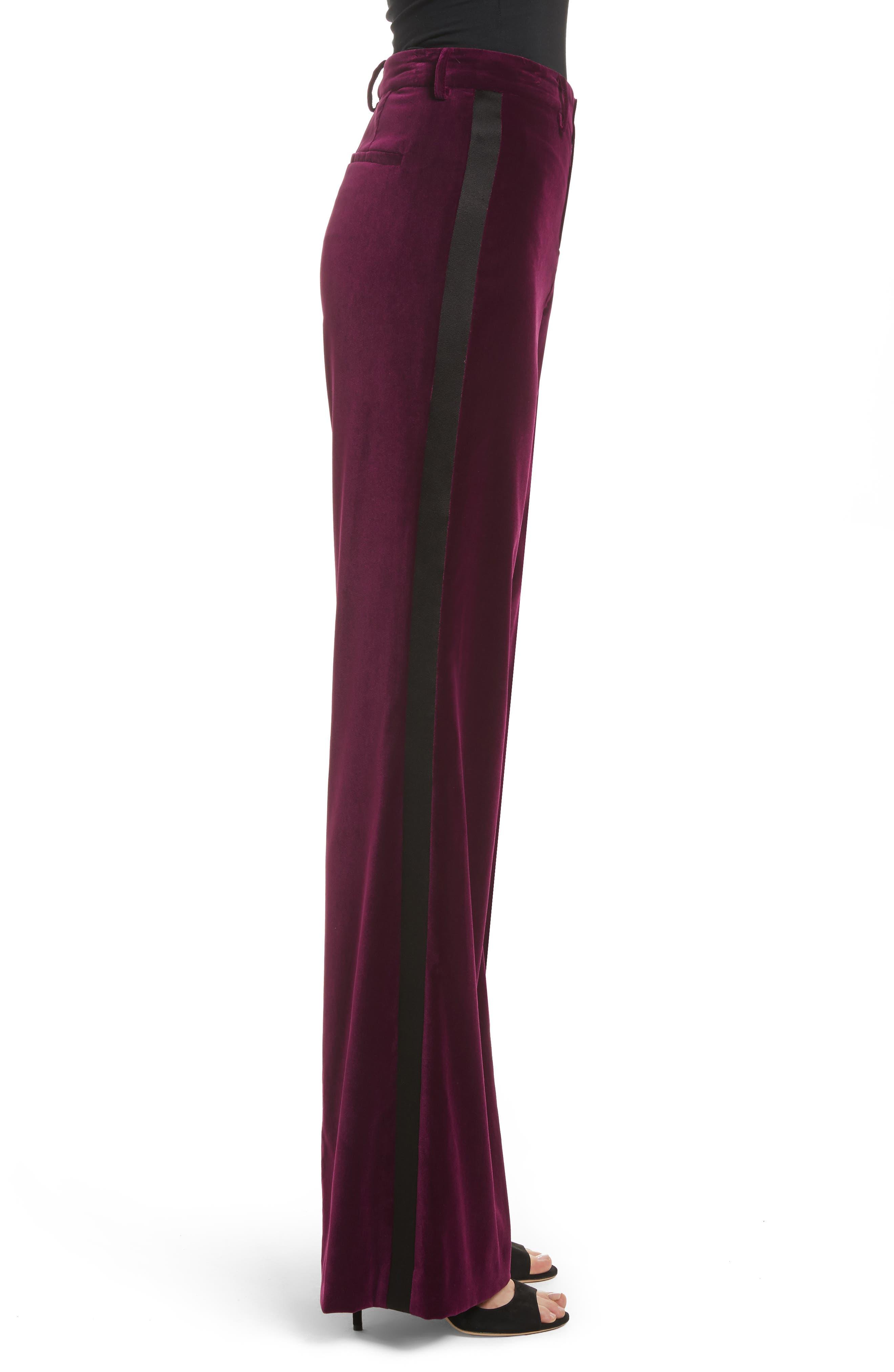 Paulette Velvet Tuxedo Pants,                             Alternate thumbnail 3, color,                             934