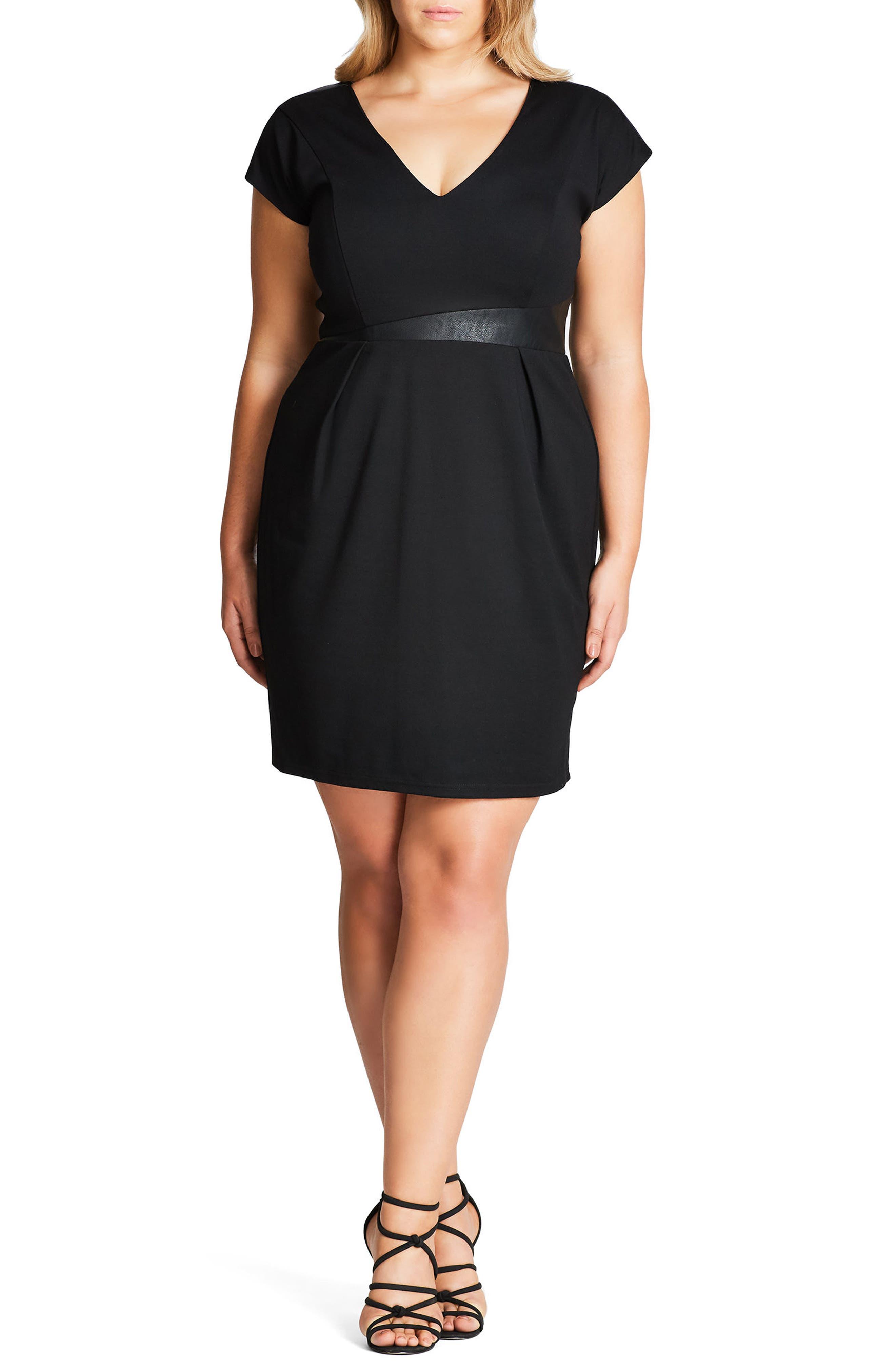 Spliced Mod Sheath Dress,                             Main thumbnail 1, color,                             BLACK