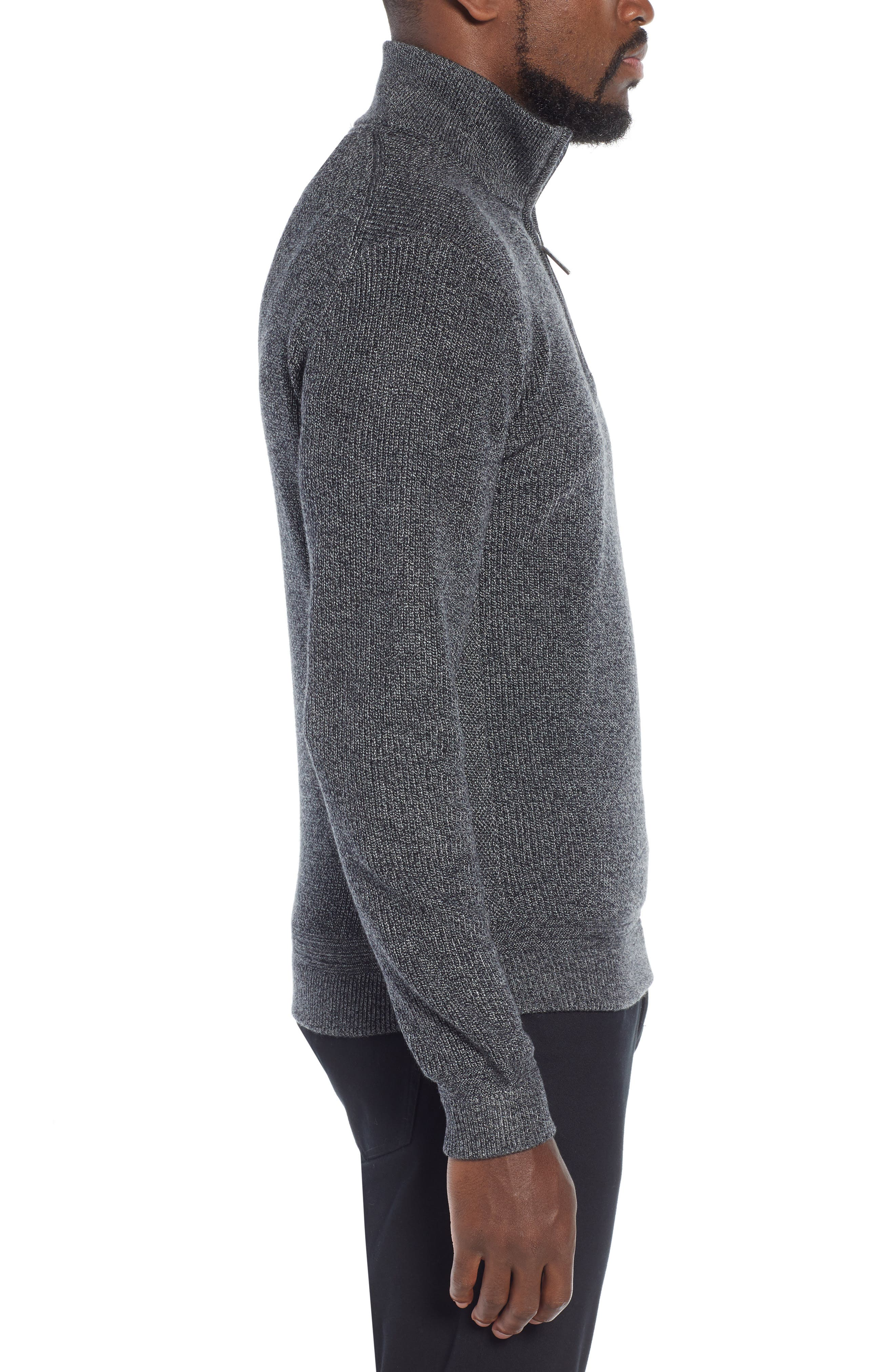 Lohas Slim Fit Funnel Neck Sweater,                             Alternate thumbnail 3, color,                             CHARCOAL