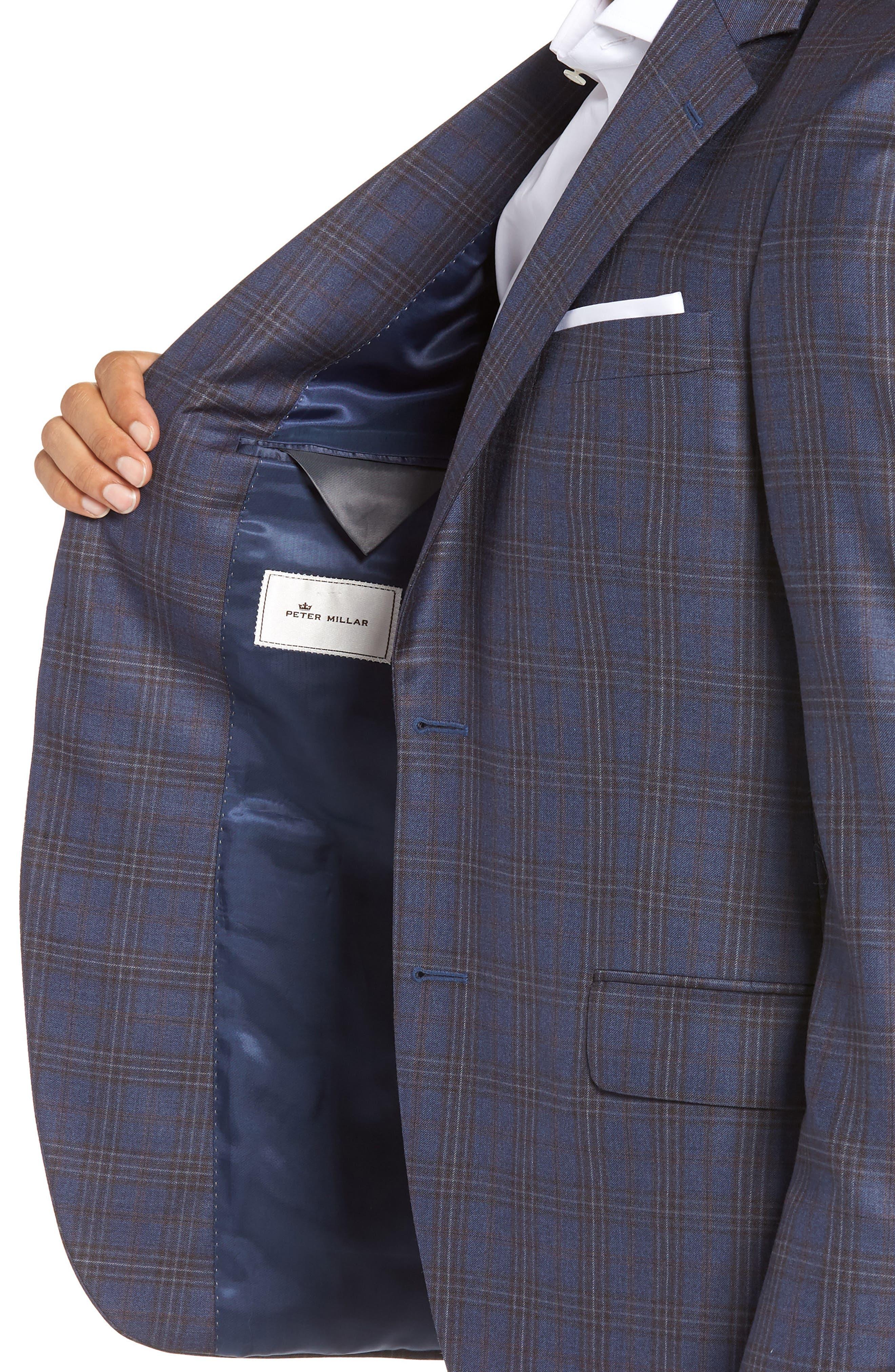 Flynn Classic Fit Plaid Wool Sport Coat,                             Alternate thumbnail 4, color,                             BLUE