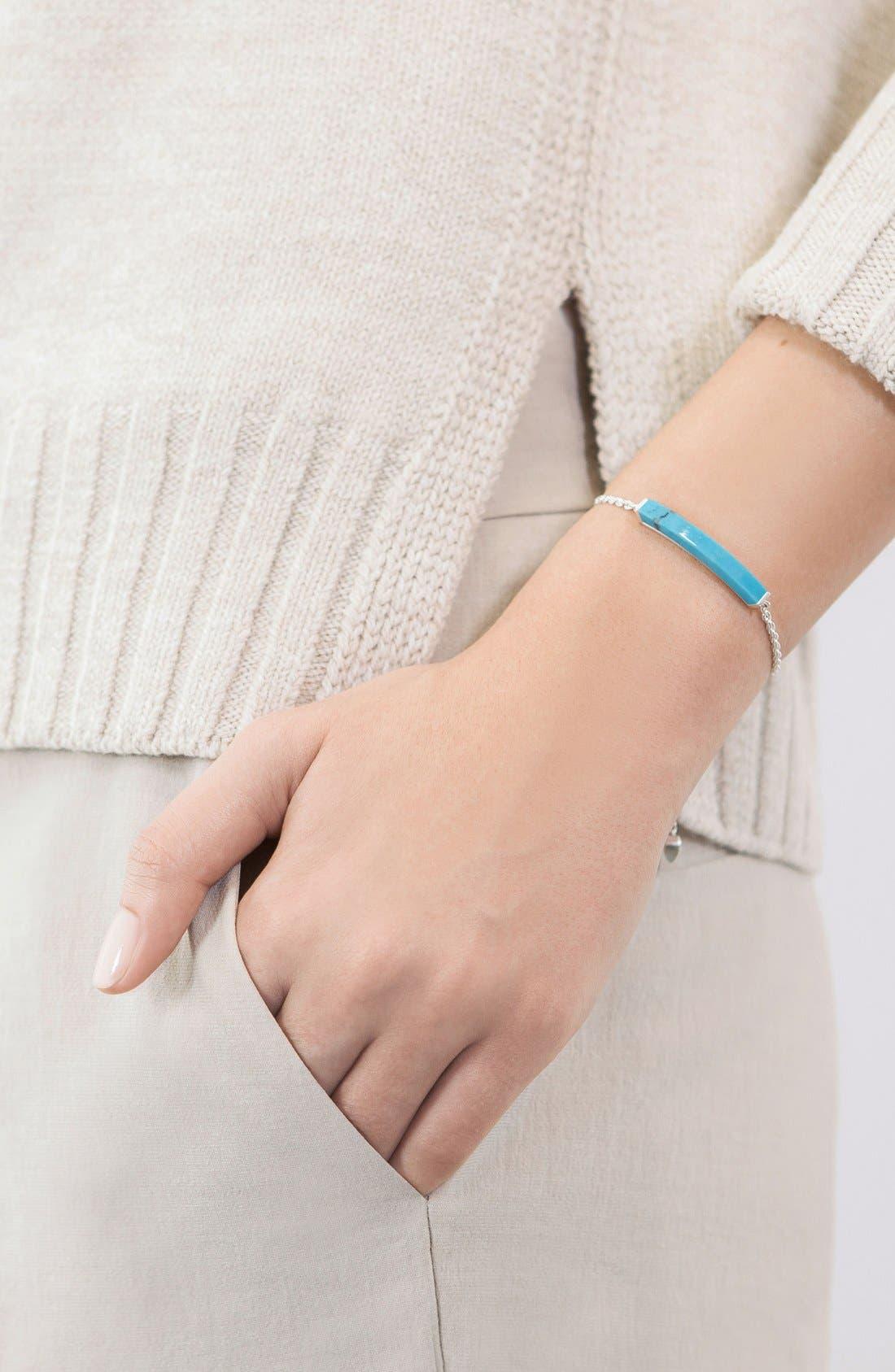Engravable Linear Semiprecious Stone Friendship Bracelet,                             Alternate thumbnail 3, color,                             SILVER/ TURQUOISE