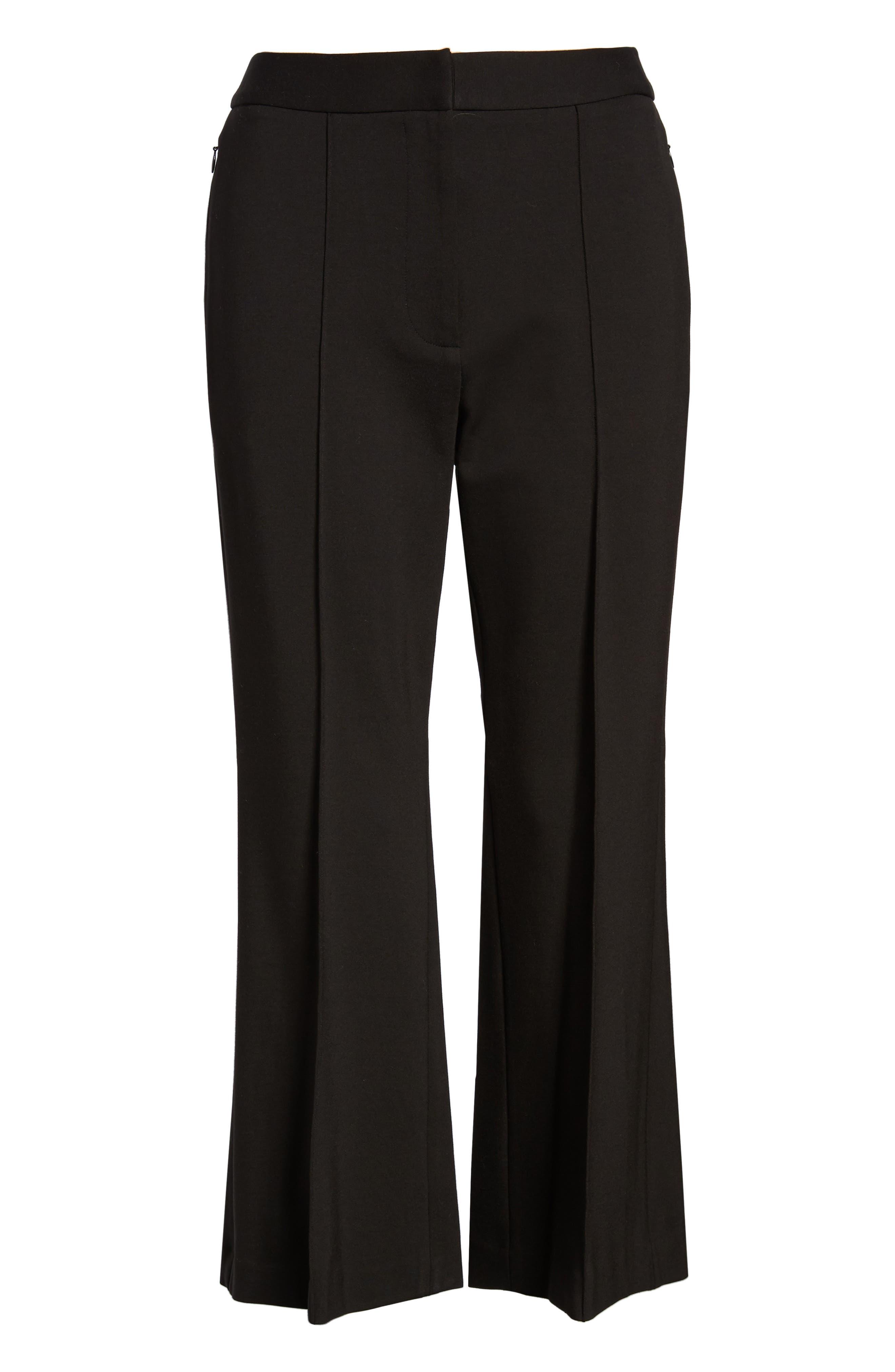Flared Crop Ponte Pants,                             Alternate thumbnail 7, color,                             BLACK