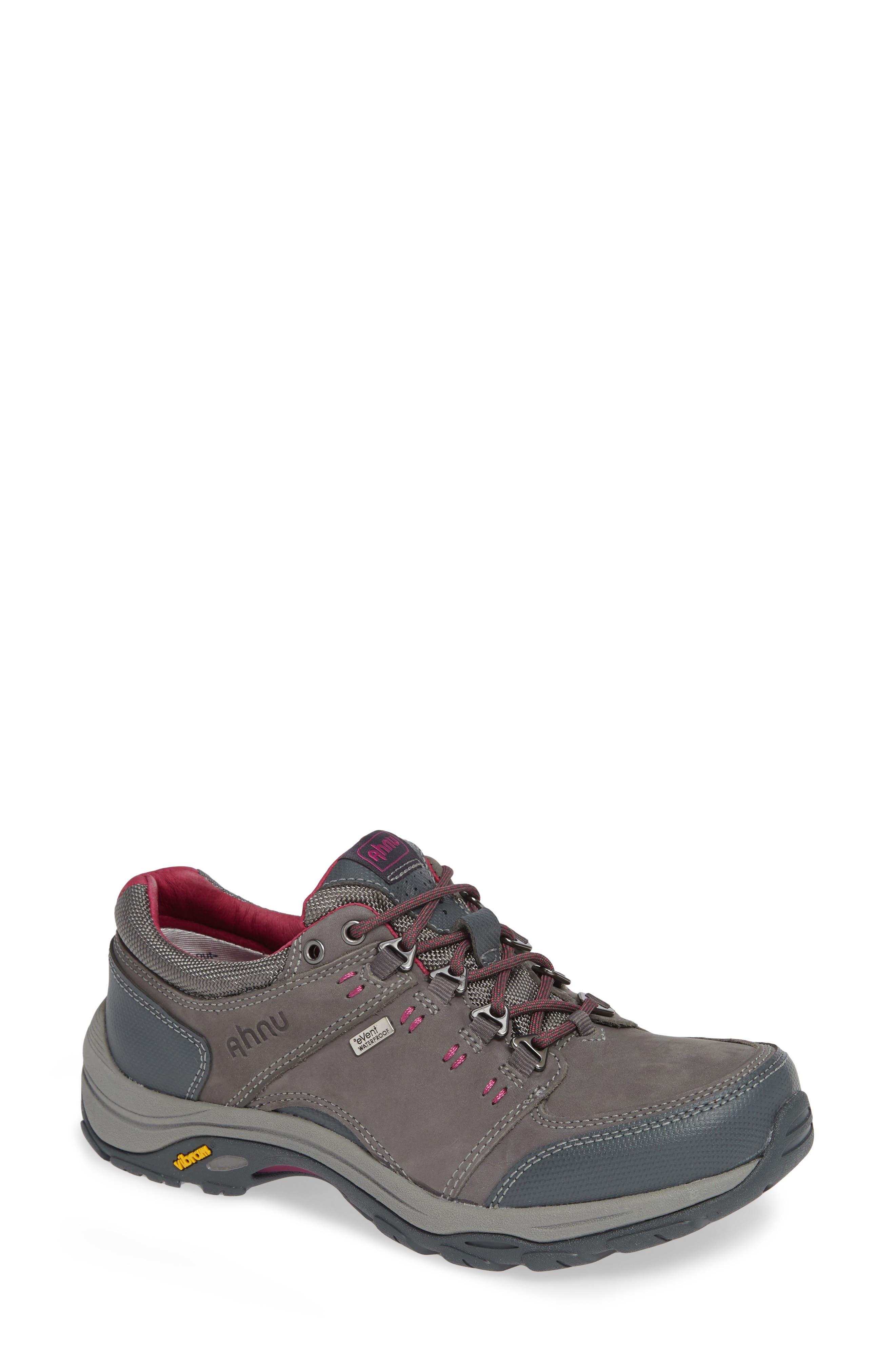 TEVA,                             Ahnu by Teva Montara III Waterproof Hiking Sneaker,                             Main thumbnail 1, color,                             CHARCOAL GRAY NUBUCK LEATHER