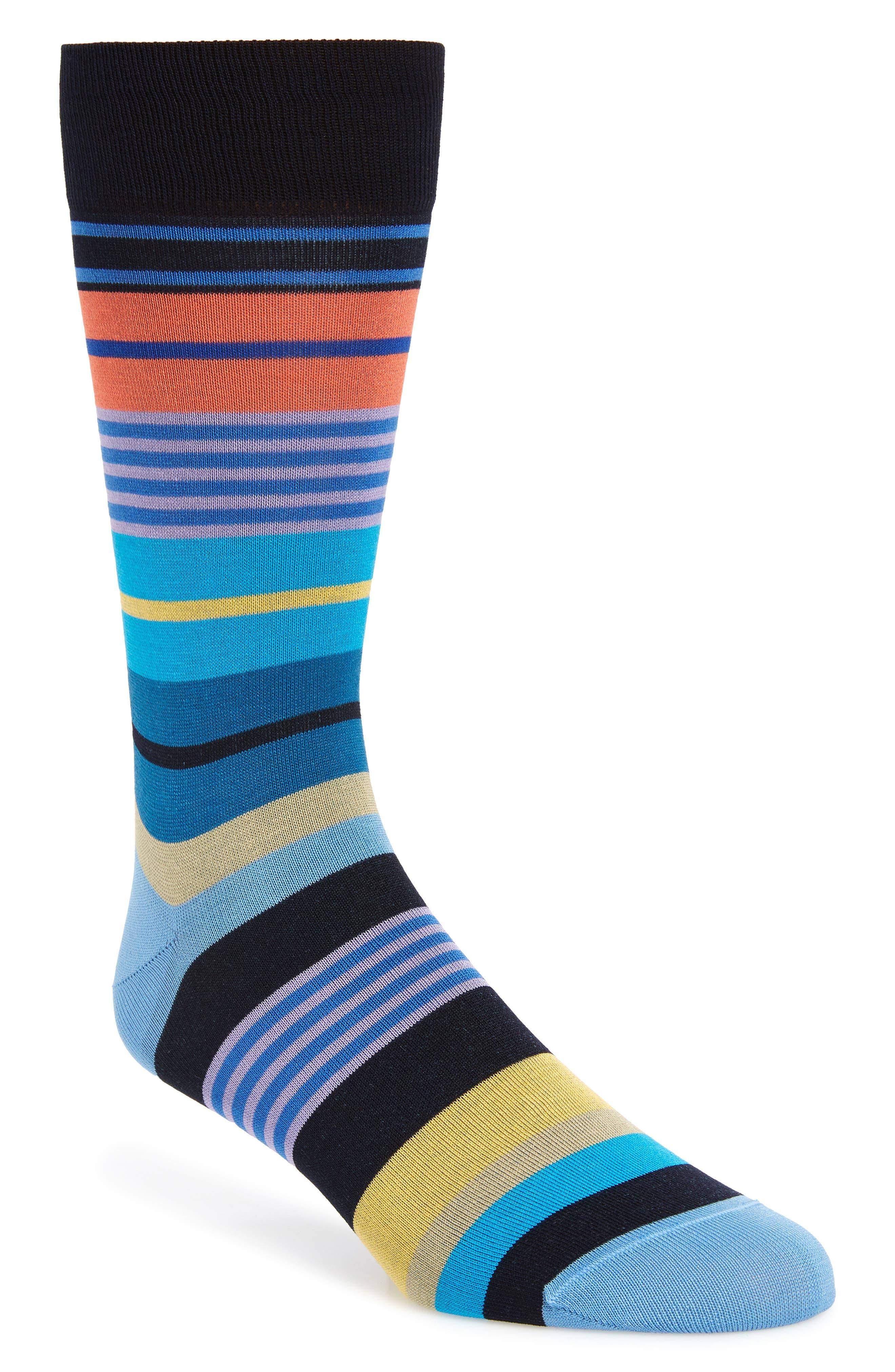 men's bugatchi stripe mercerized cotton blend socks, size one size - blue