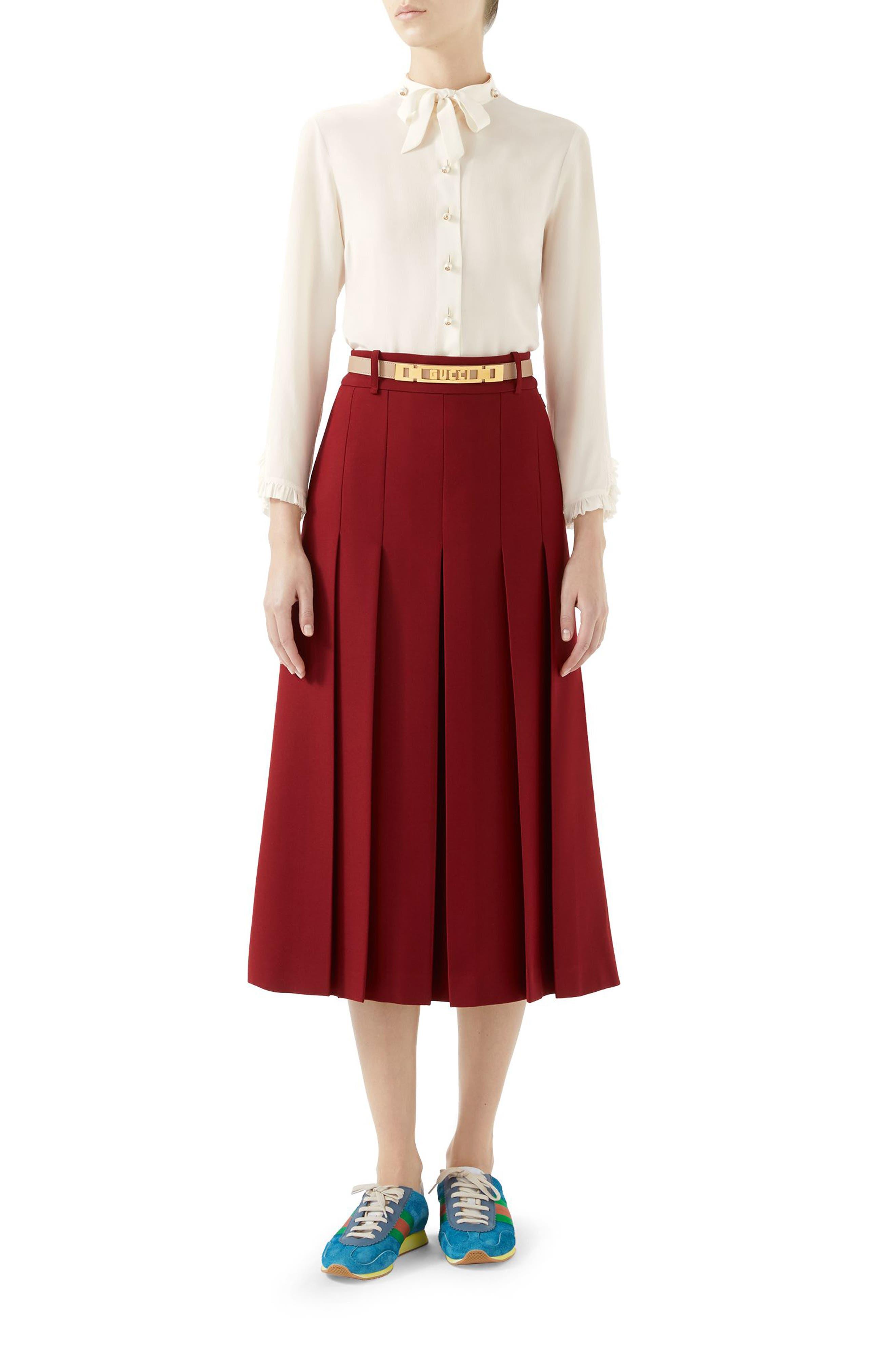 GUCCI,                             Logo Belt Pleated Midi Skirt,                             Alternate thumbnail 3, color,                             REAL MAGENTA