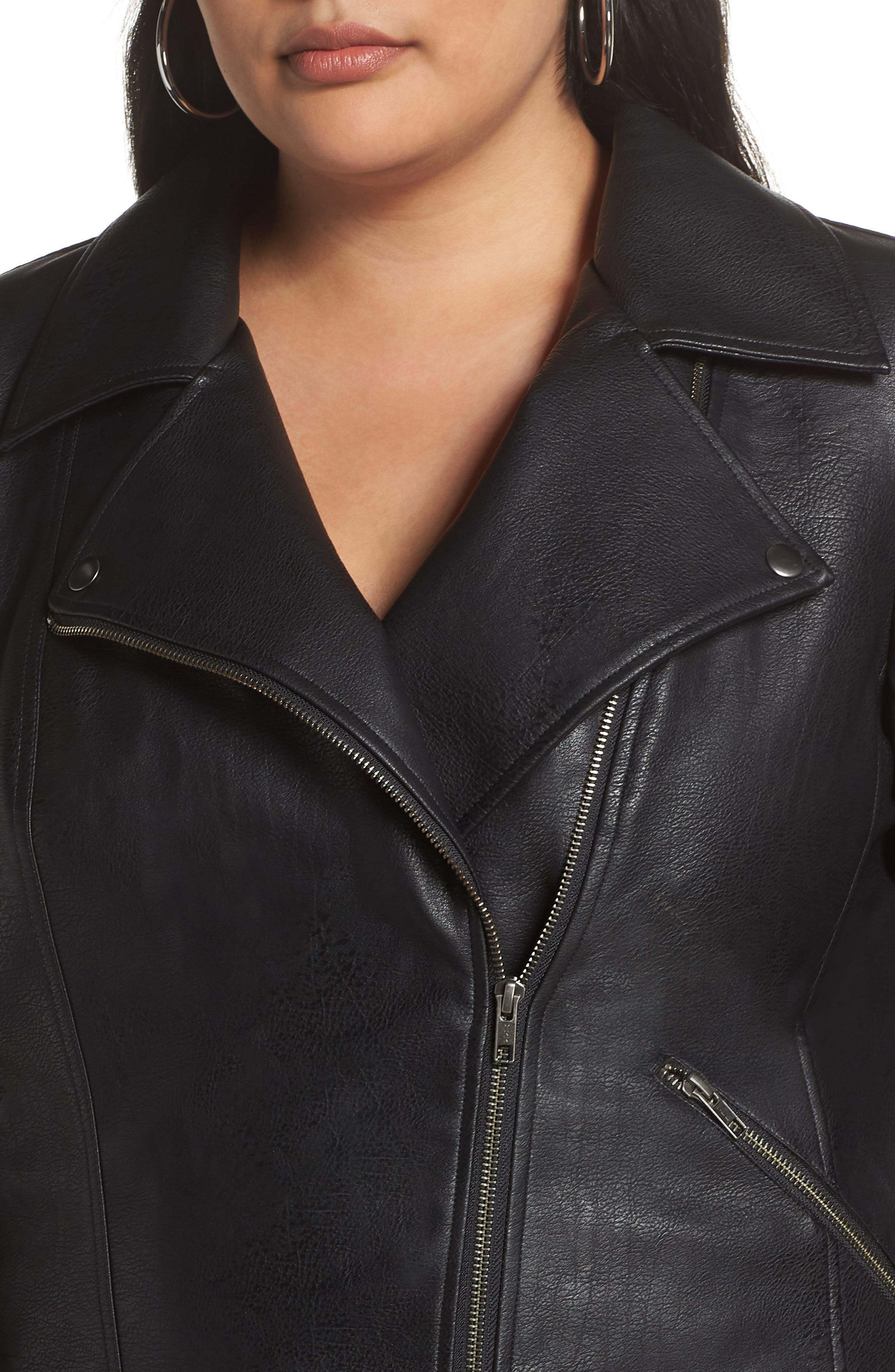 Faux Leather Moto Jacket,                             Alternate thumbnail 4, color,                             BLACK