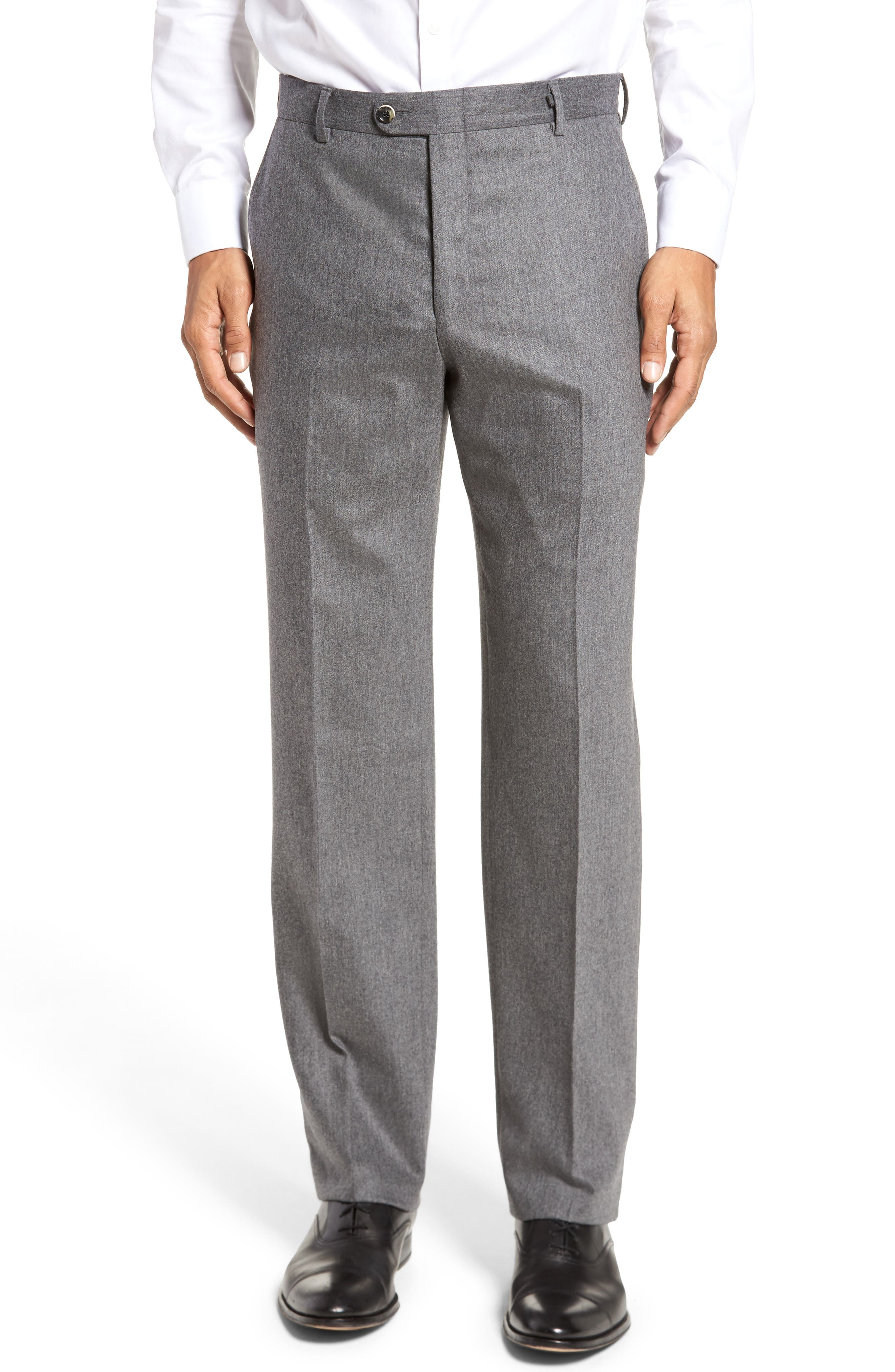 Classic B Fit Flat Front Solid Wool Blend Trousers,                             Main thumbnail 1, color,                             030