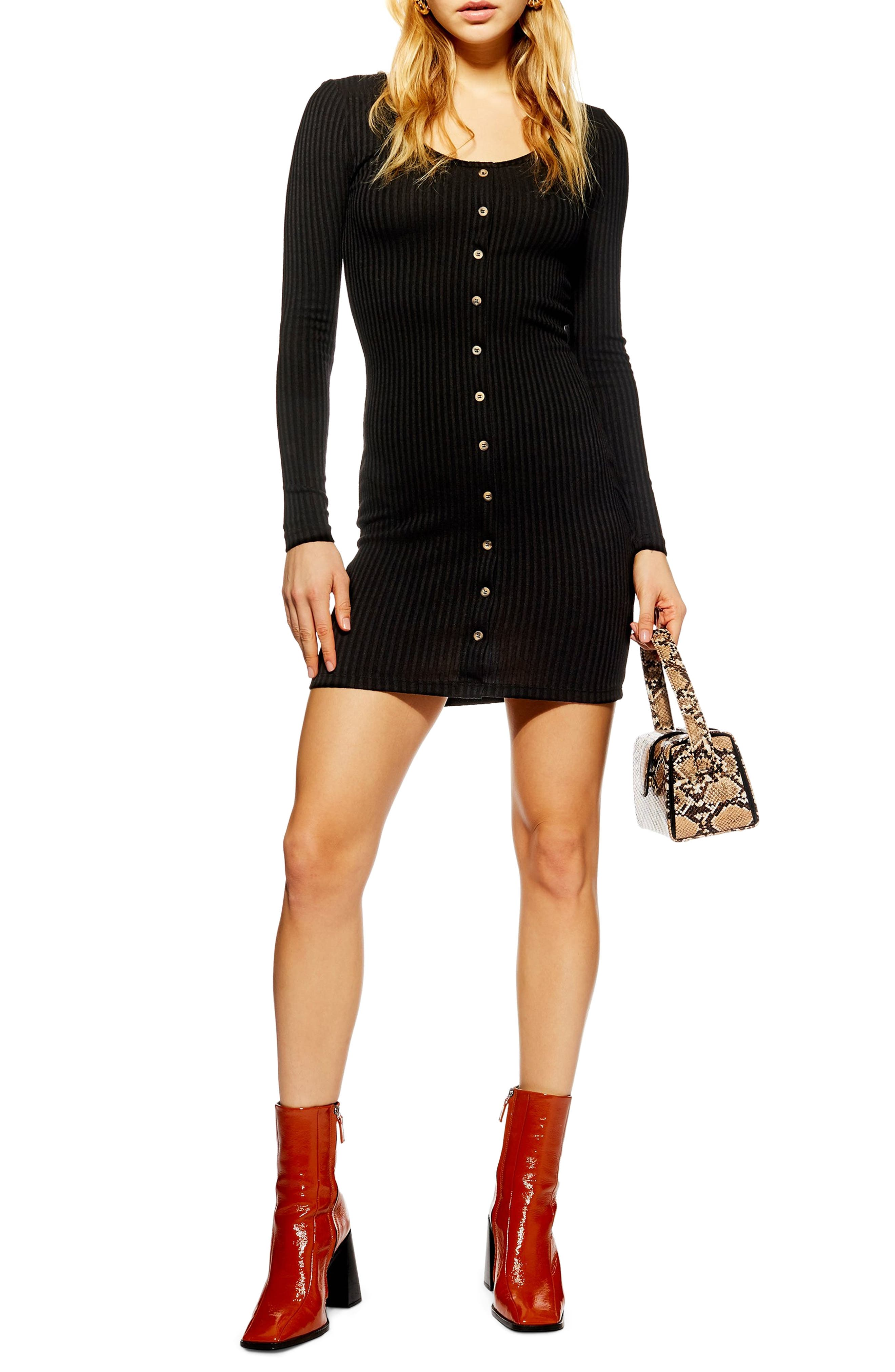 Topshop Ribbed Button Dress, US (fits like 0) - Black