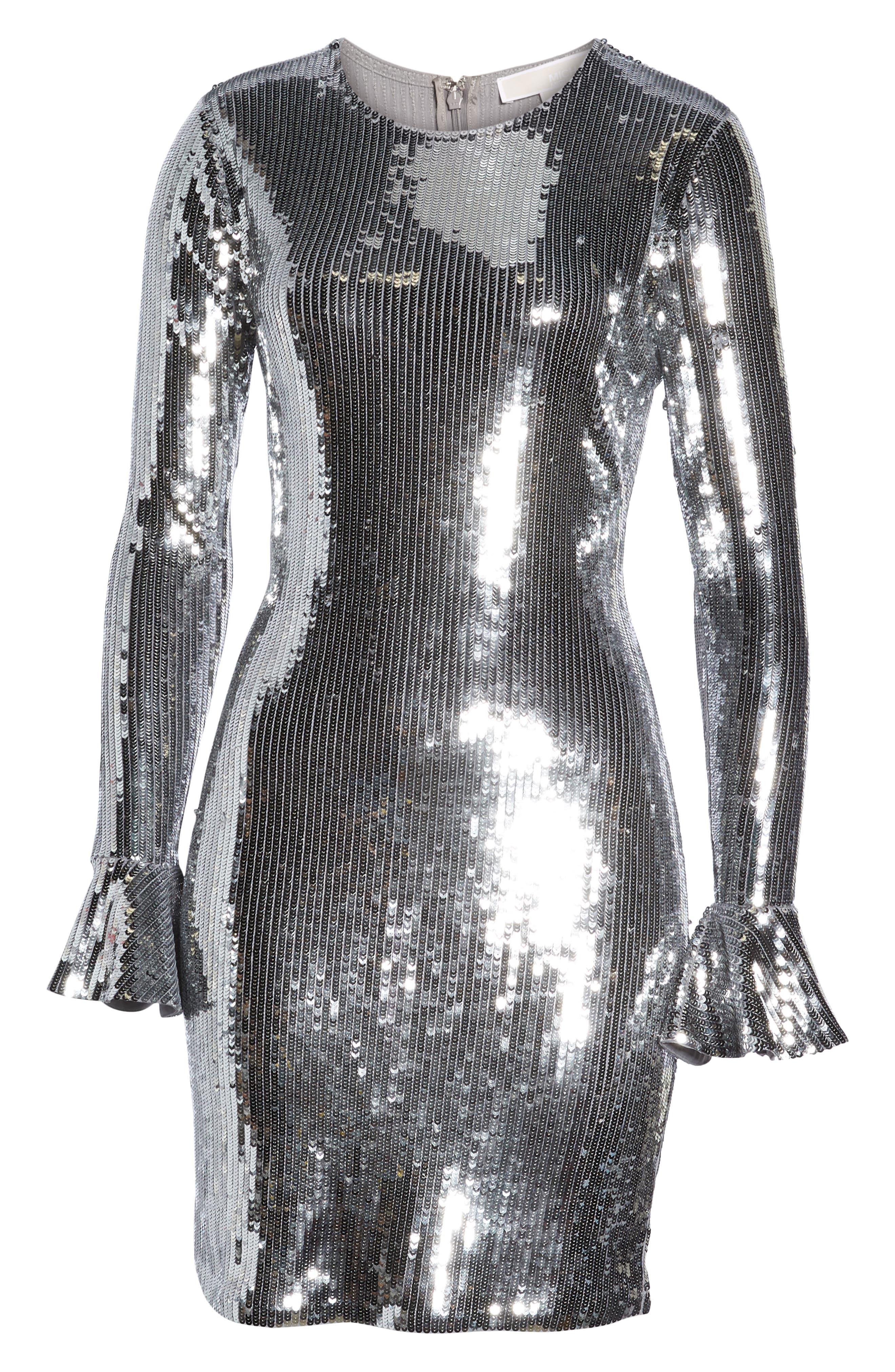 Sequin Ruffle Cuff Dress,                             Alternate thumbnail 7, color,                             CONCRETE